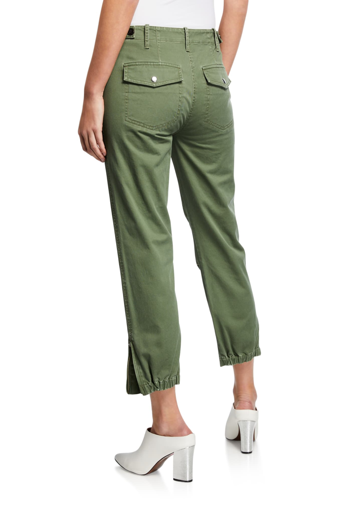 Image 2 of 3: Cropped Utility Pants w/ Elastic Cuffs