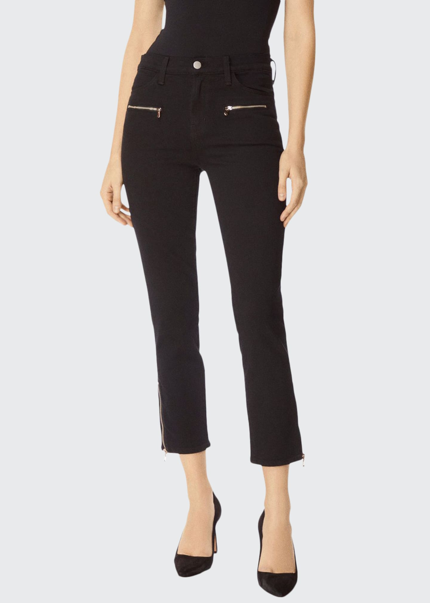 J Brand Ruby High-Rise Cropped Moto Cigarette Jeans