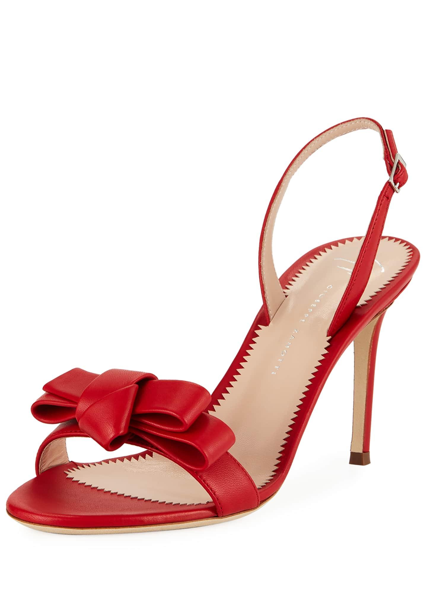 Giuseppe Zanotti Bow Leather Strappy Sandals