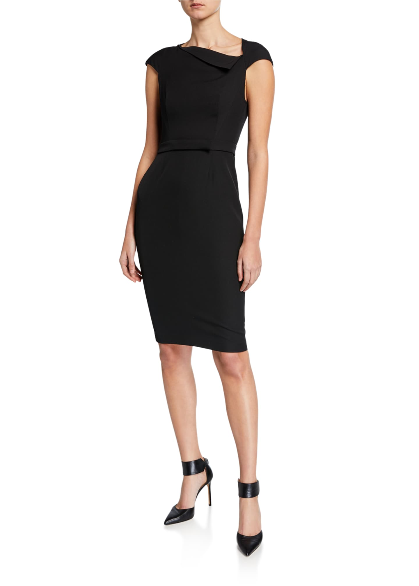 Narciso Rodriguez Draped-Neck Zip-Back Sheath Dress