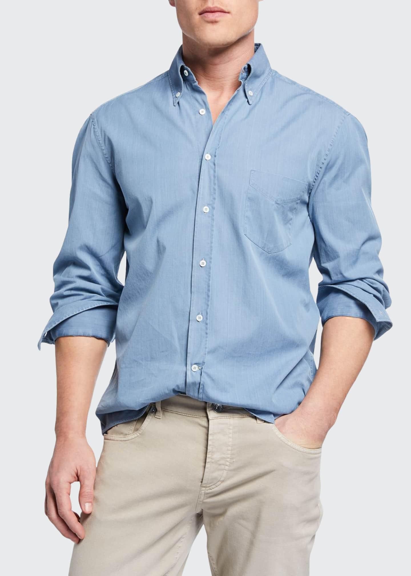 Brunello Cucinelli Men's Basic Fit Chambray Sport Shirt