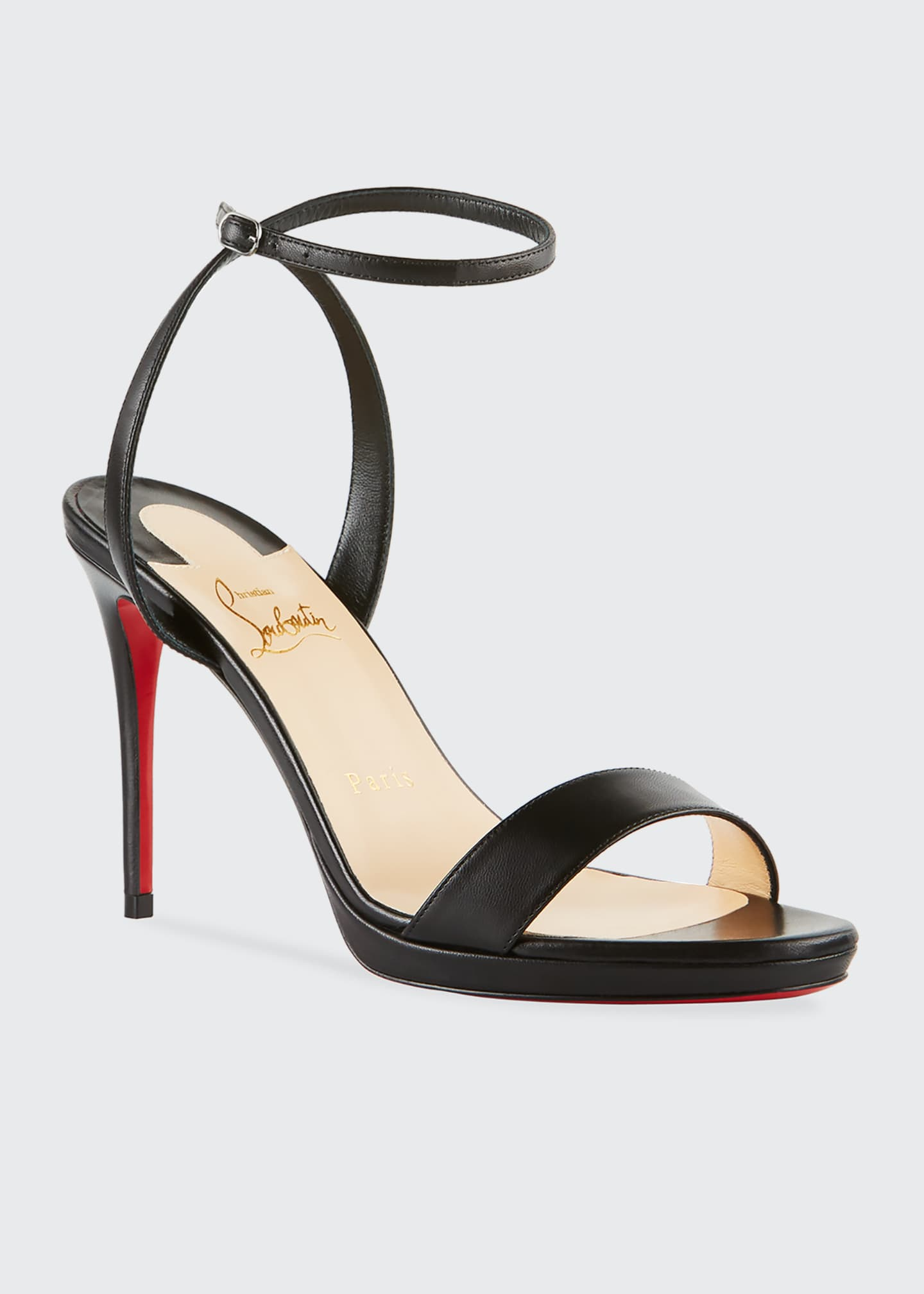Image 2 of 3: Loubi Queen Red Sole Ankle-Wrap Sandals
