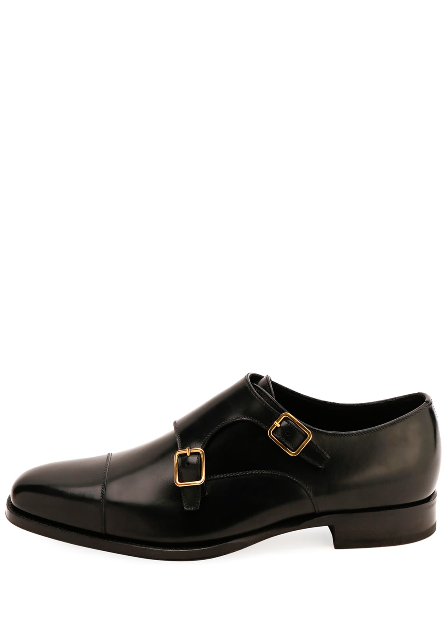 Image 2 of 3: Men's Double-Monk Strap Leather Loafers