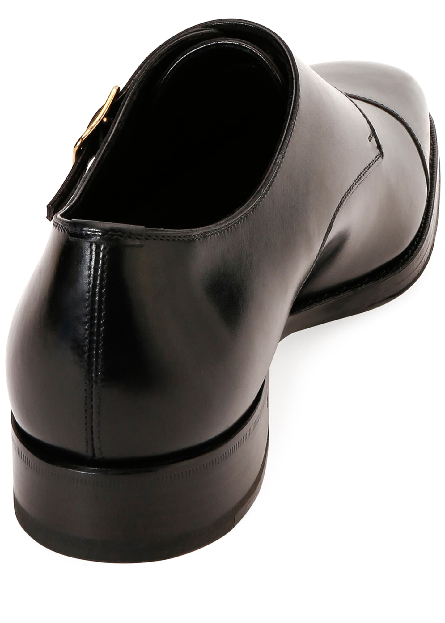 Image 3 of 3: Men's Double-Monk Strap Leather Loafers