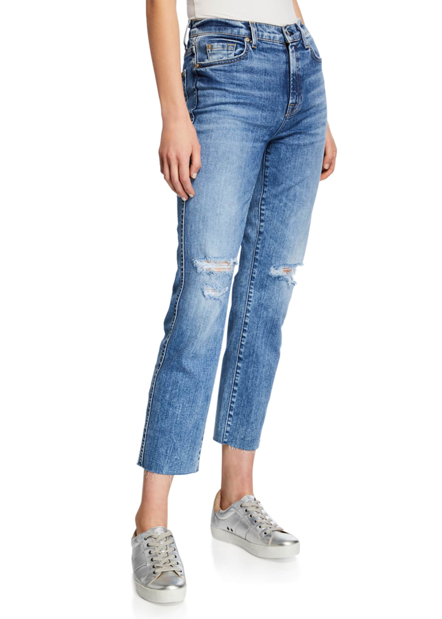 7 For All Mankind Edie Ripped High-Rise Cropped