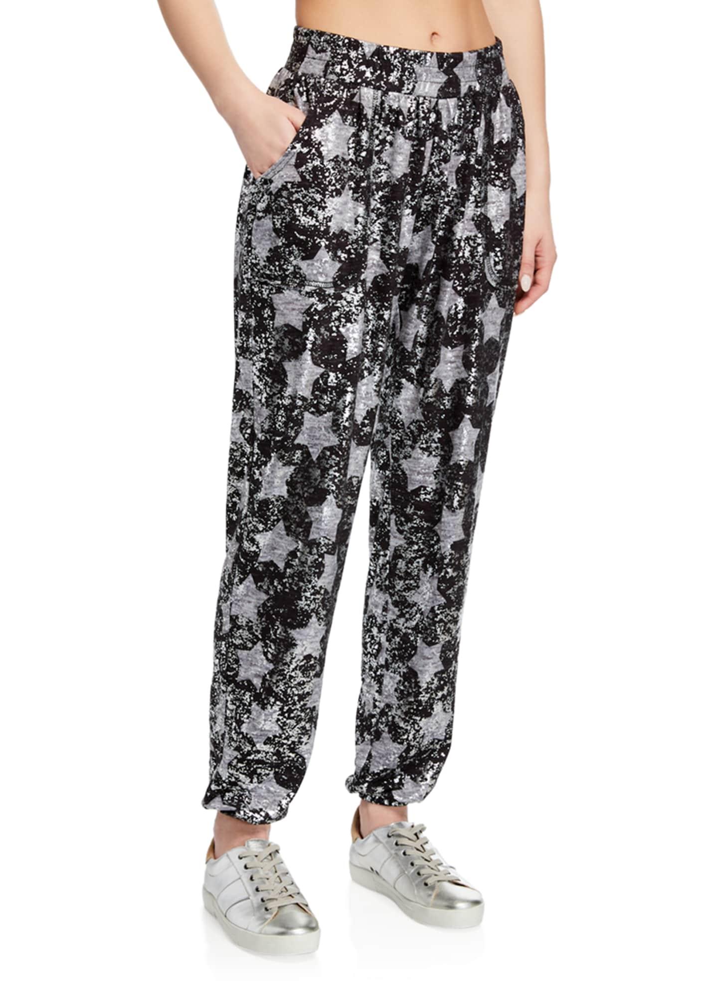 Terez Foil Star-Print Pull-On Jogger Pants