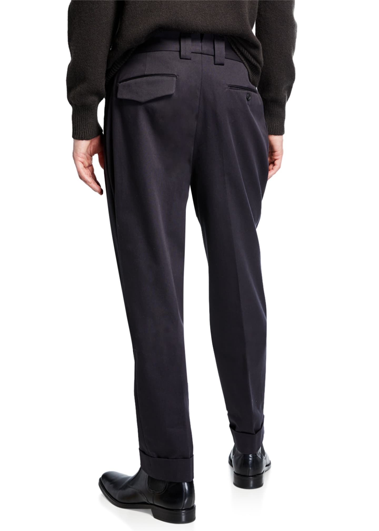 Image 2 of 3: Men's Pleated-Front Tapered Trousers