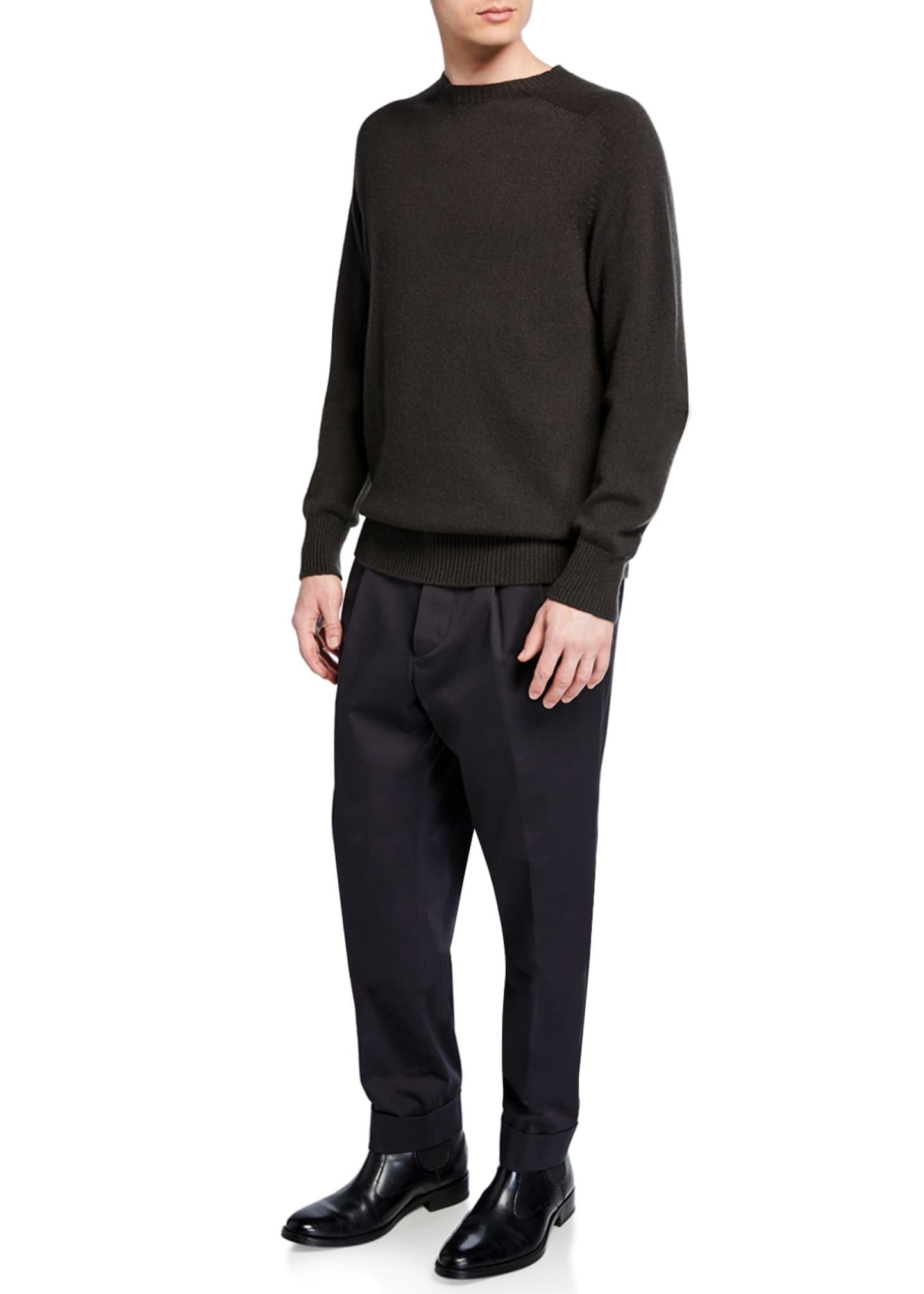 Image 3 of 3: Men's Pleated-Front Tapered Trousers