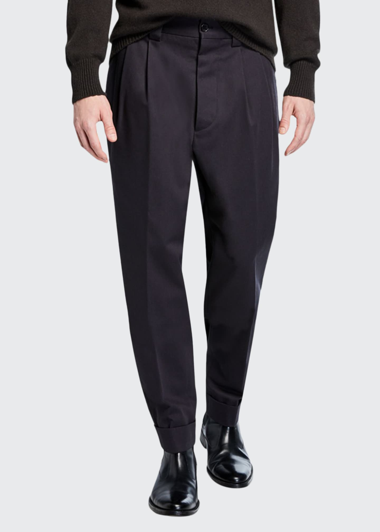 Image 1 of 3: Men's Pleated-Front Tapered Trousers