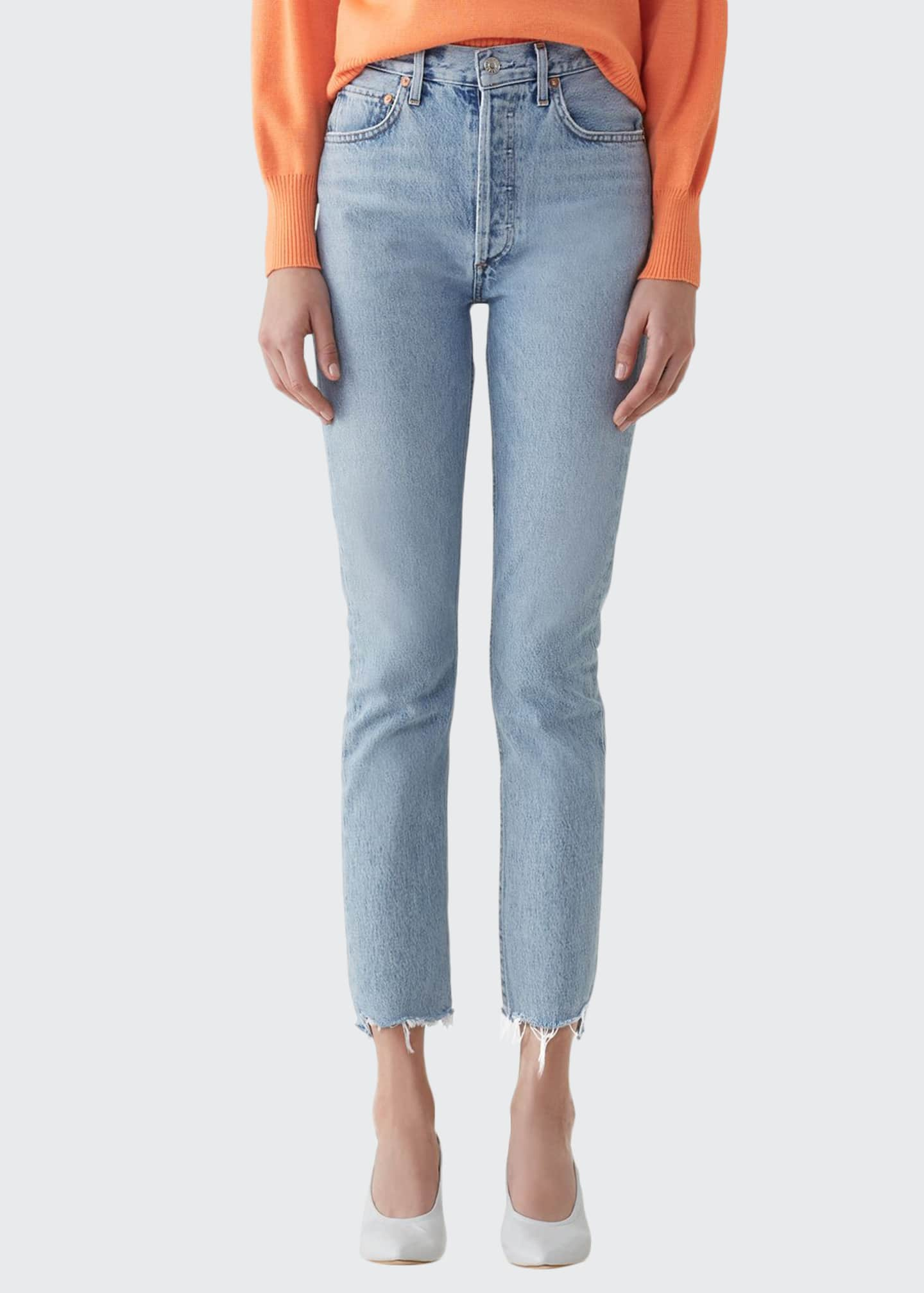 AGOLDE Riley High-Rise Straight Crop Stagger Jeans