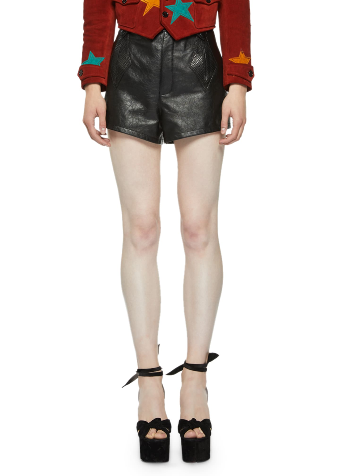 Saint Laurent High-Rise Python and Leather Shorts