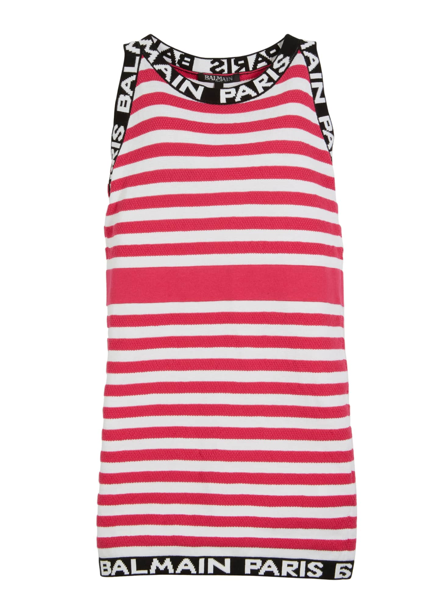 Balmain Striped Knit Sleeveless Dress w/ Logo Trim,