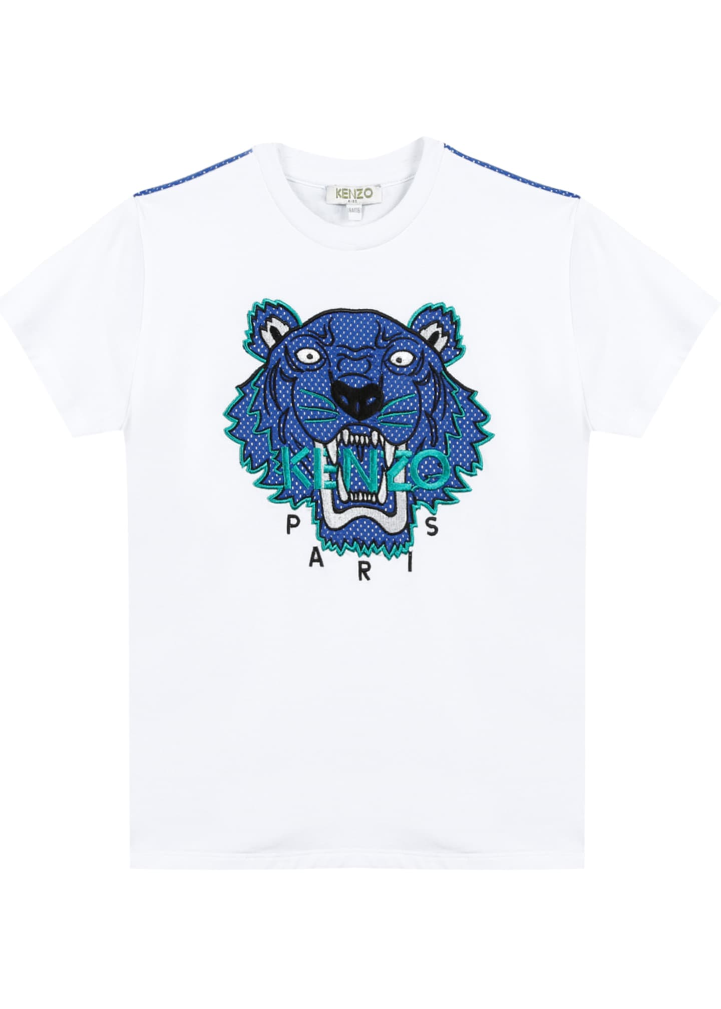 Kenzo Mixed Material Tiger Embroidered T-Shirt, Size 8-12