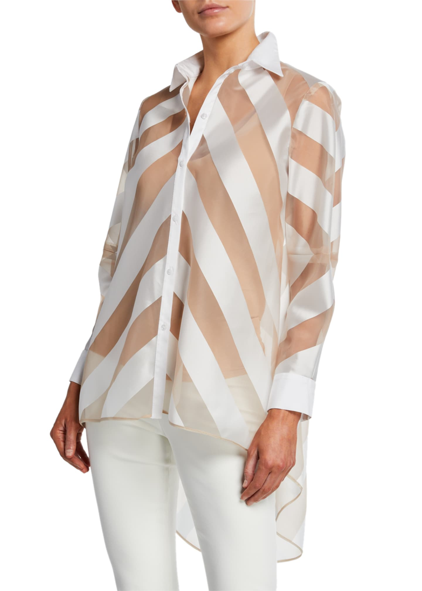 Lela Rose Sheer-Striped High-Low Button-Front Shirt