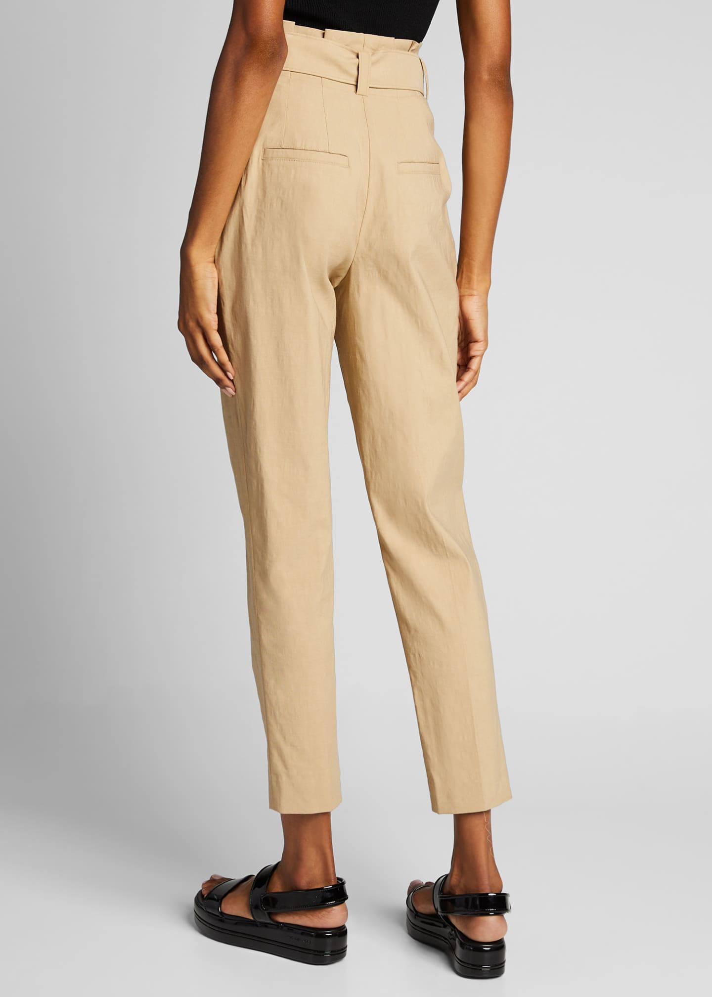 Image 2 of 4: Diego High-Waist Belted Linen-Stretch Pants