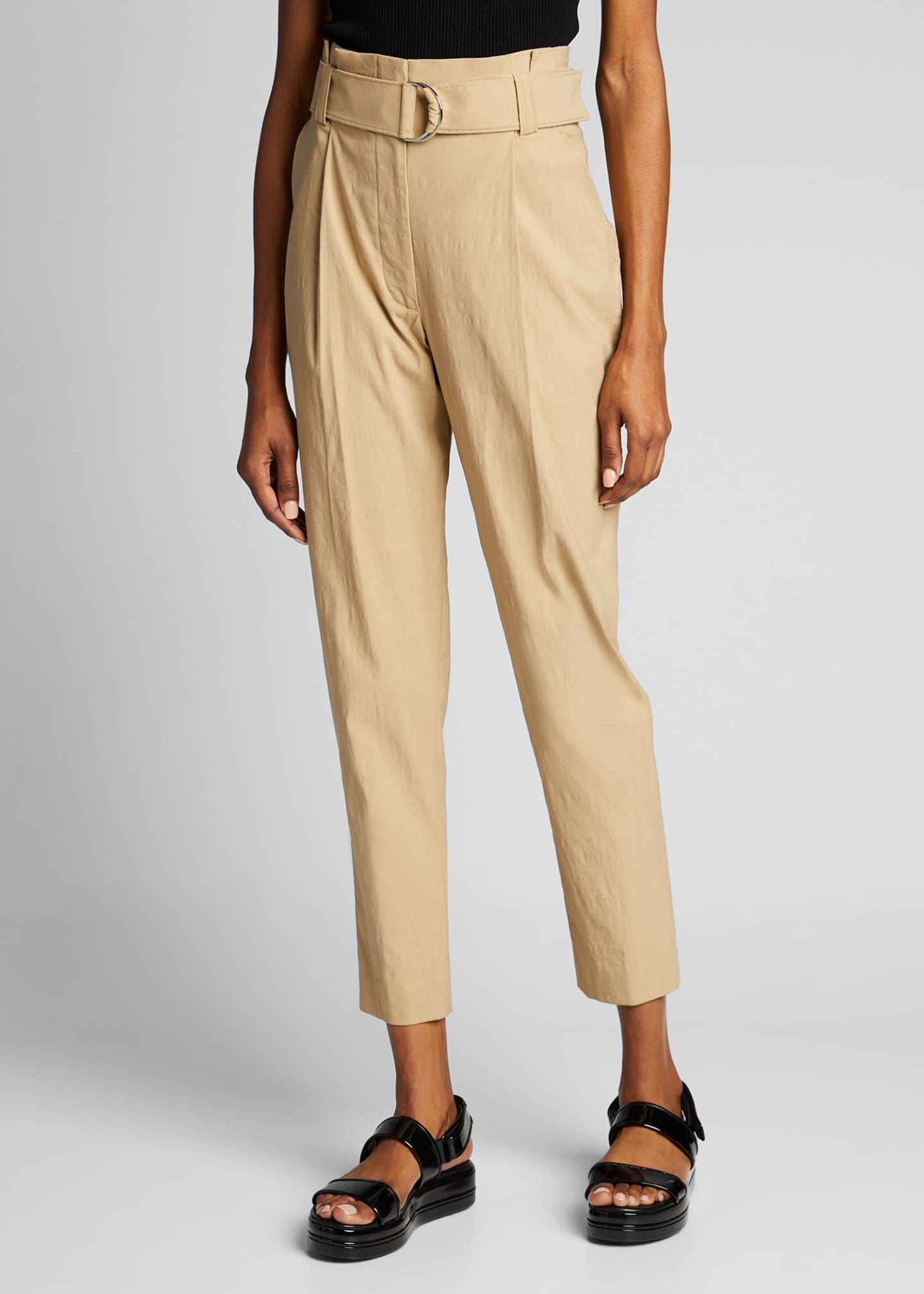 Image 3 of 4: Diego High-Waist Belted Linen-Stretch Pants