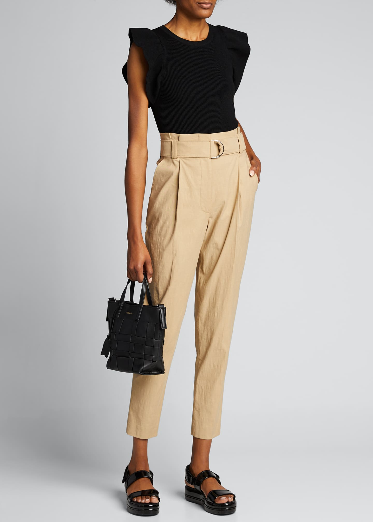 Image 1 of 4: Diego High-Waist Belted Linen-Stretch Pants