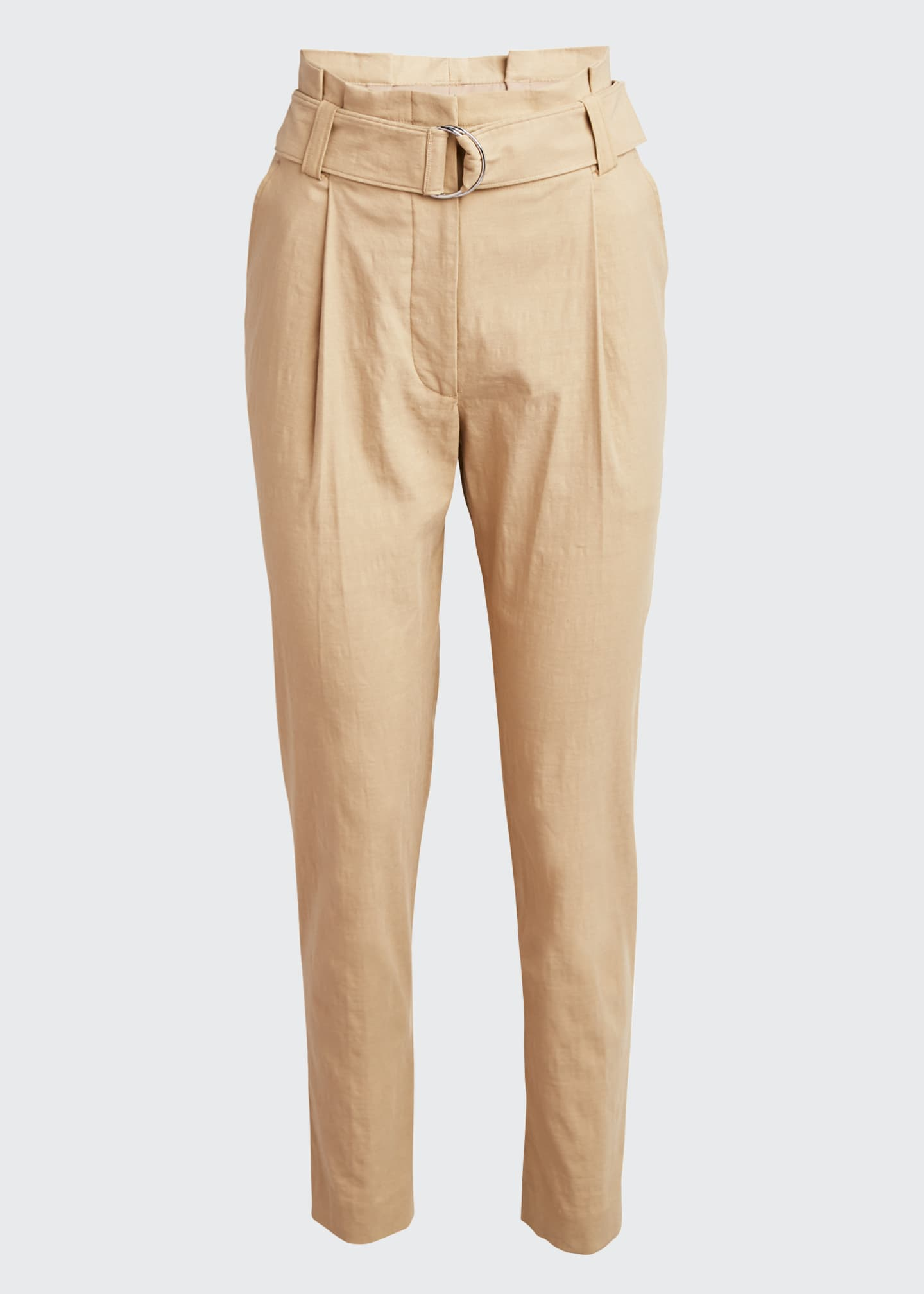 Image 4 of 4: Diego High-Waist Belted Linen-Stretch Pants