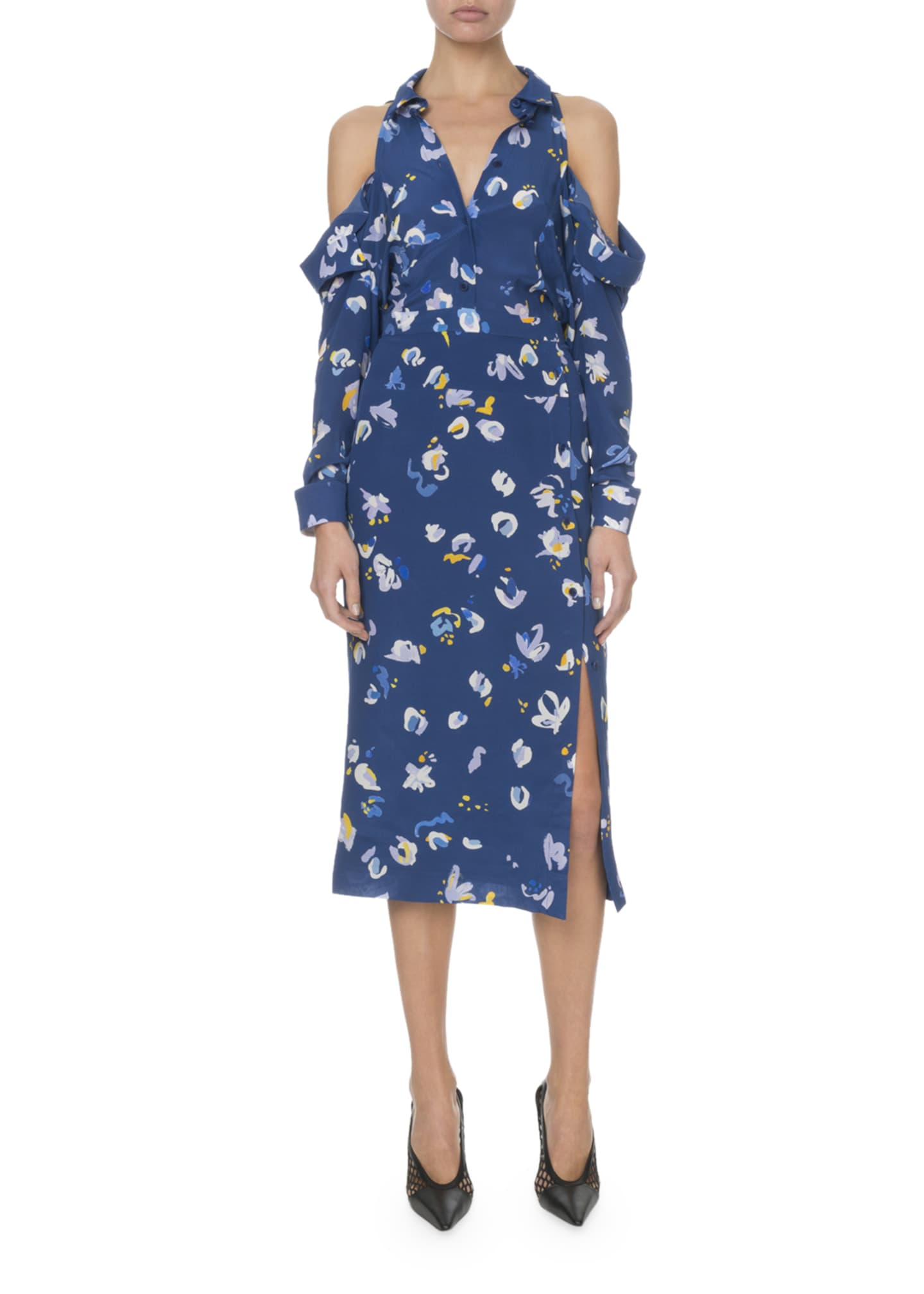 Altuzarra Cold-Shoulder Painterly Floral Shirtdress