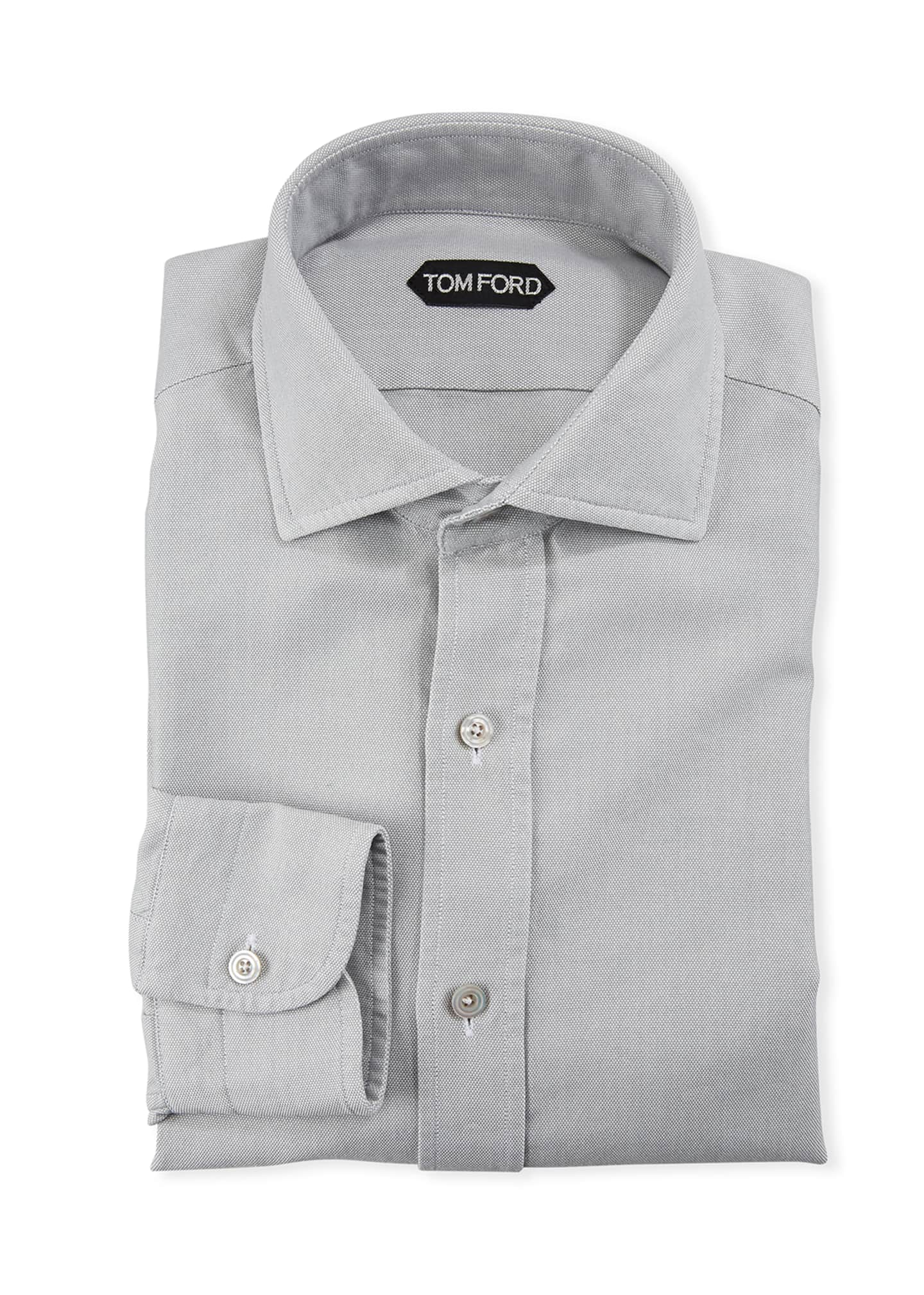 Image 1 of 2: Men's Spread-Collar Oxford Dress Shirt