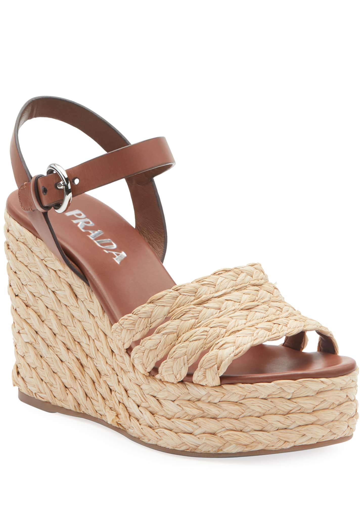 Prada Woven Raffia Platform Sandals
