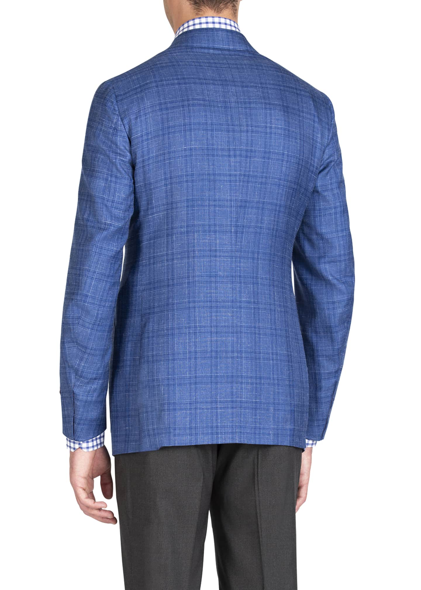 Image 2 of 4: Men's Linen-Effect Plaid Two-Button Jacket
