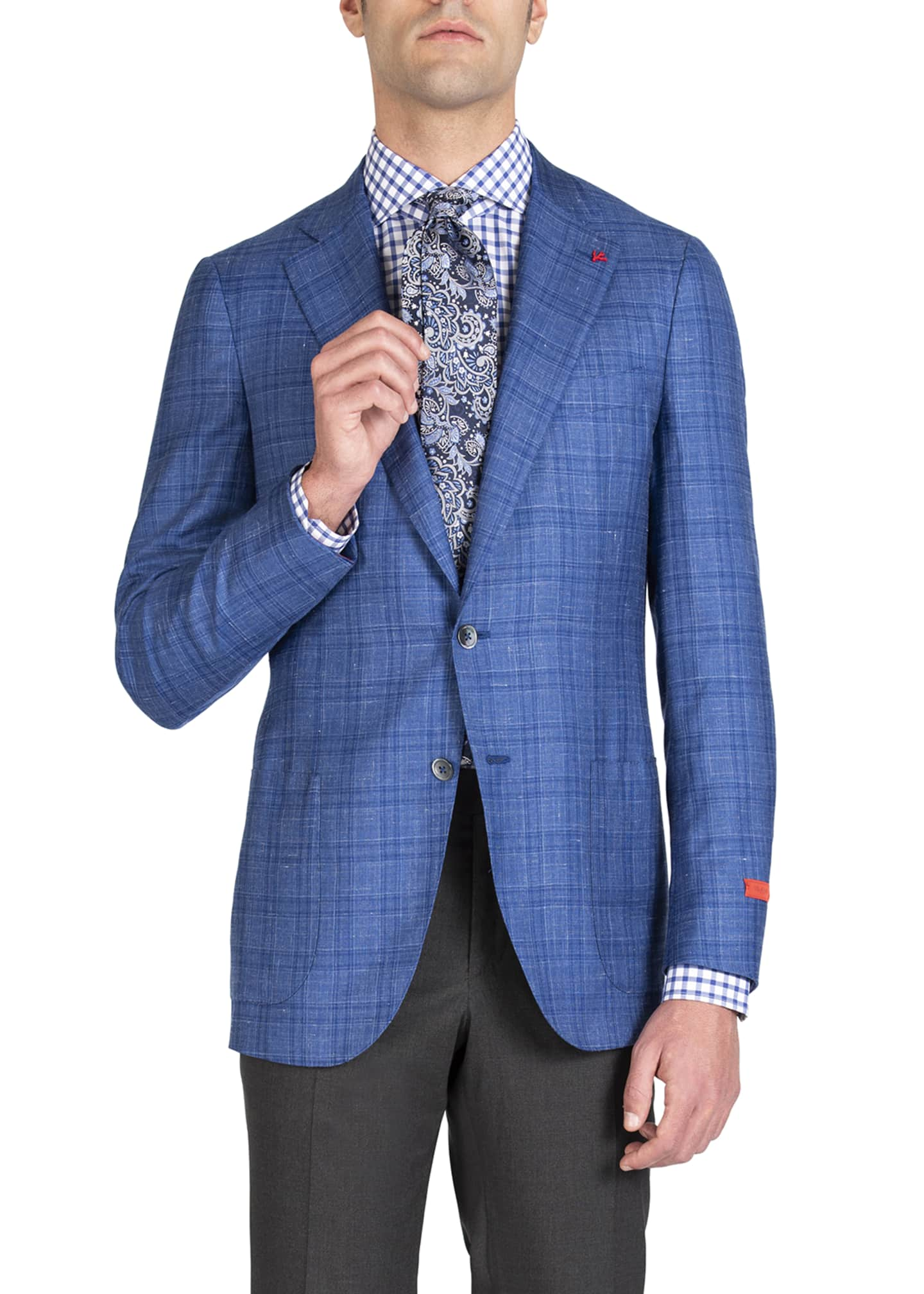 Image 3 of 4: Men's Linen-Effect Plaid Two-Button Jacket