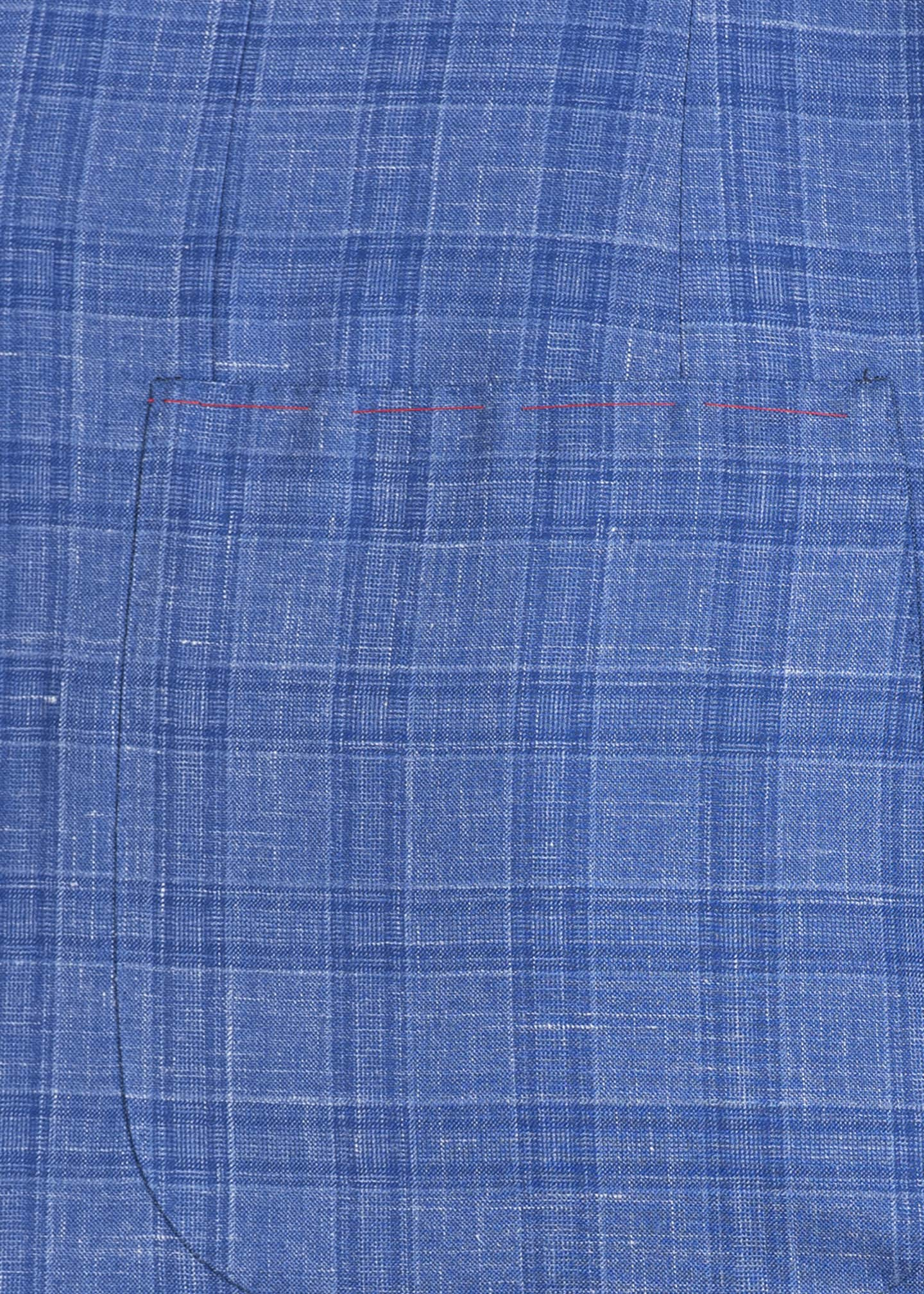 Image 4 of 4: Men's Linen-Effect Plaid Two-Button Jacket