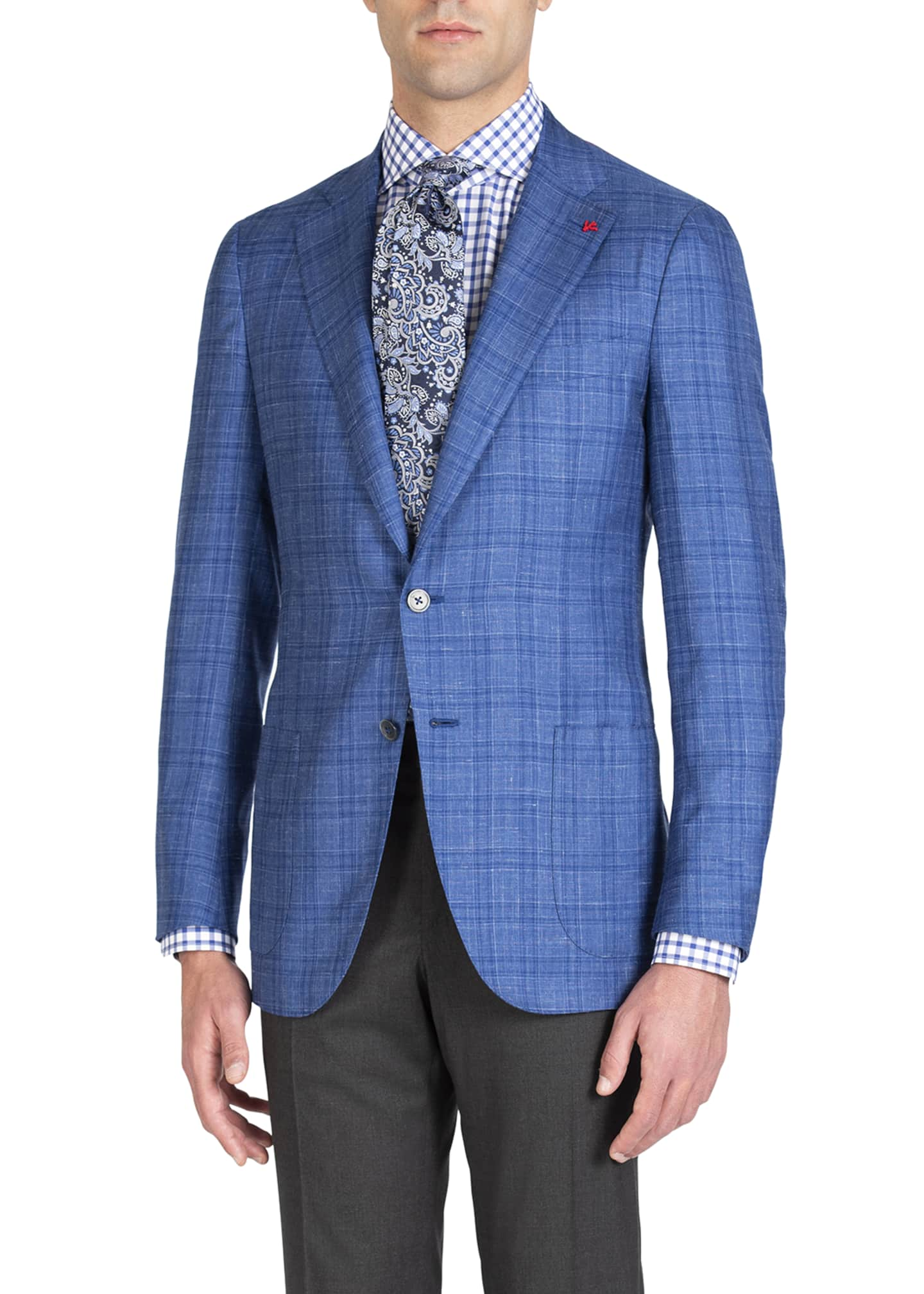 Image 1 of 4: Men's Linen-Effect Plaid Two-Button Jacket