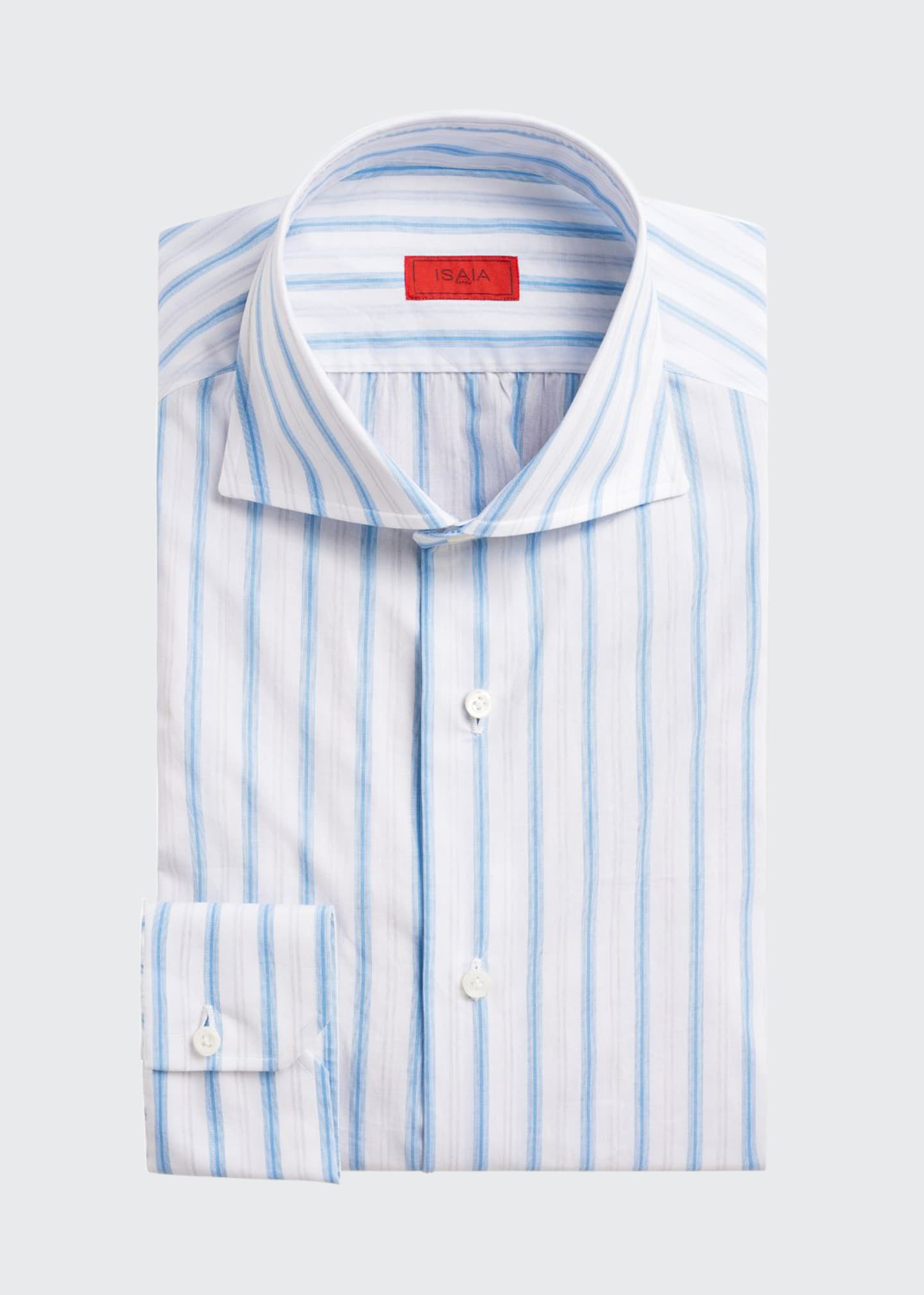 Isaia Multi-Stripe Cotton Dress Shirt, White/Blue