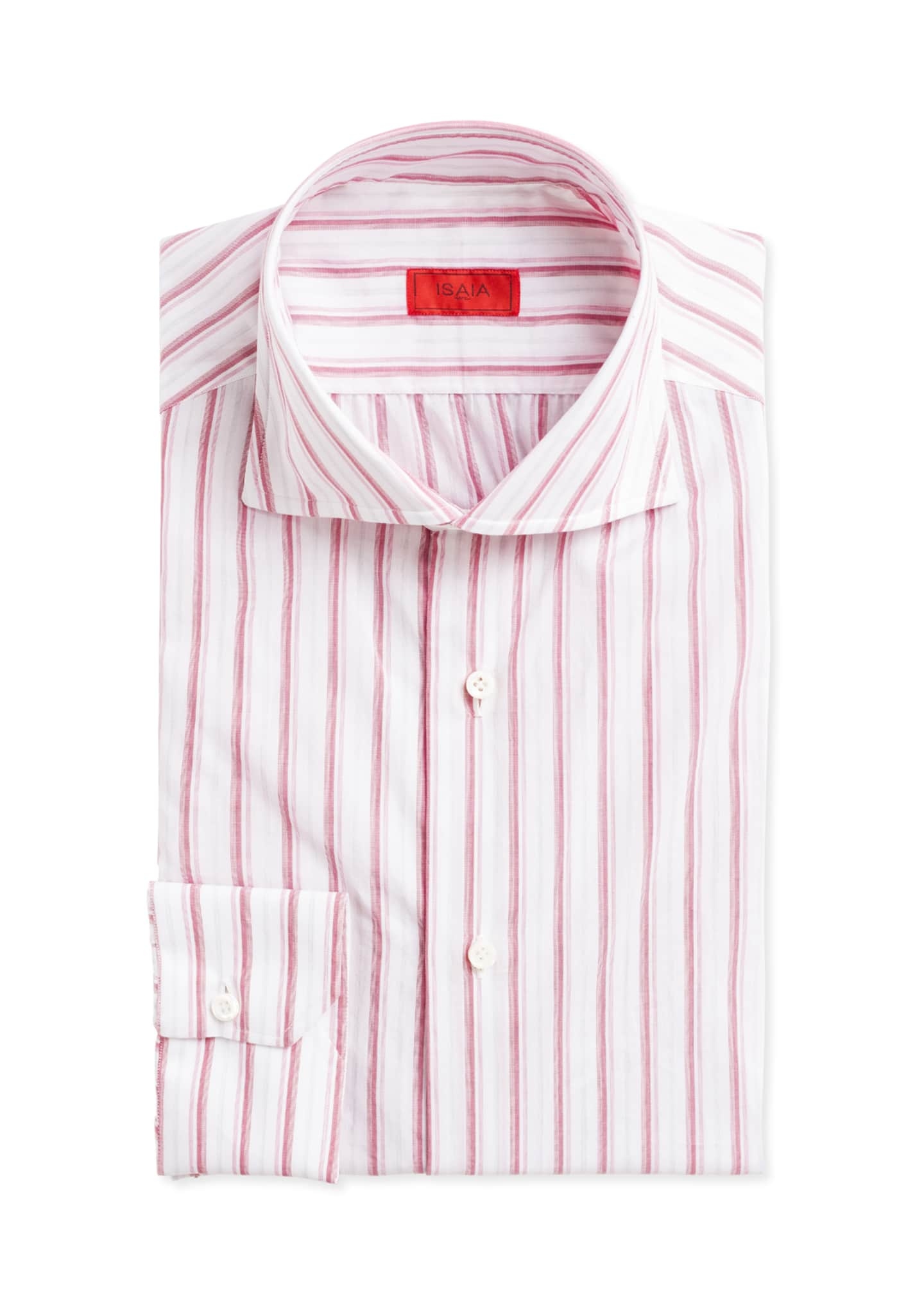 Image 1 of 2: Multi-Stripe Cotton Dress Shirt, Pink