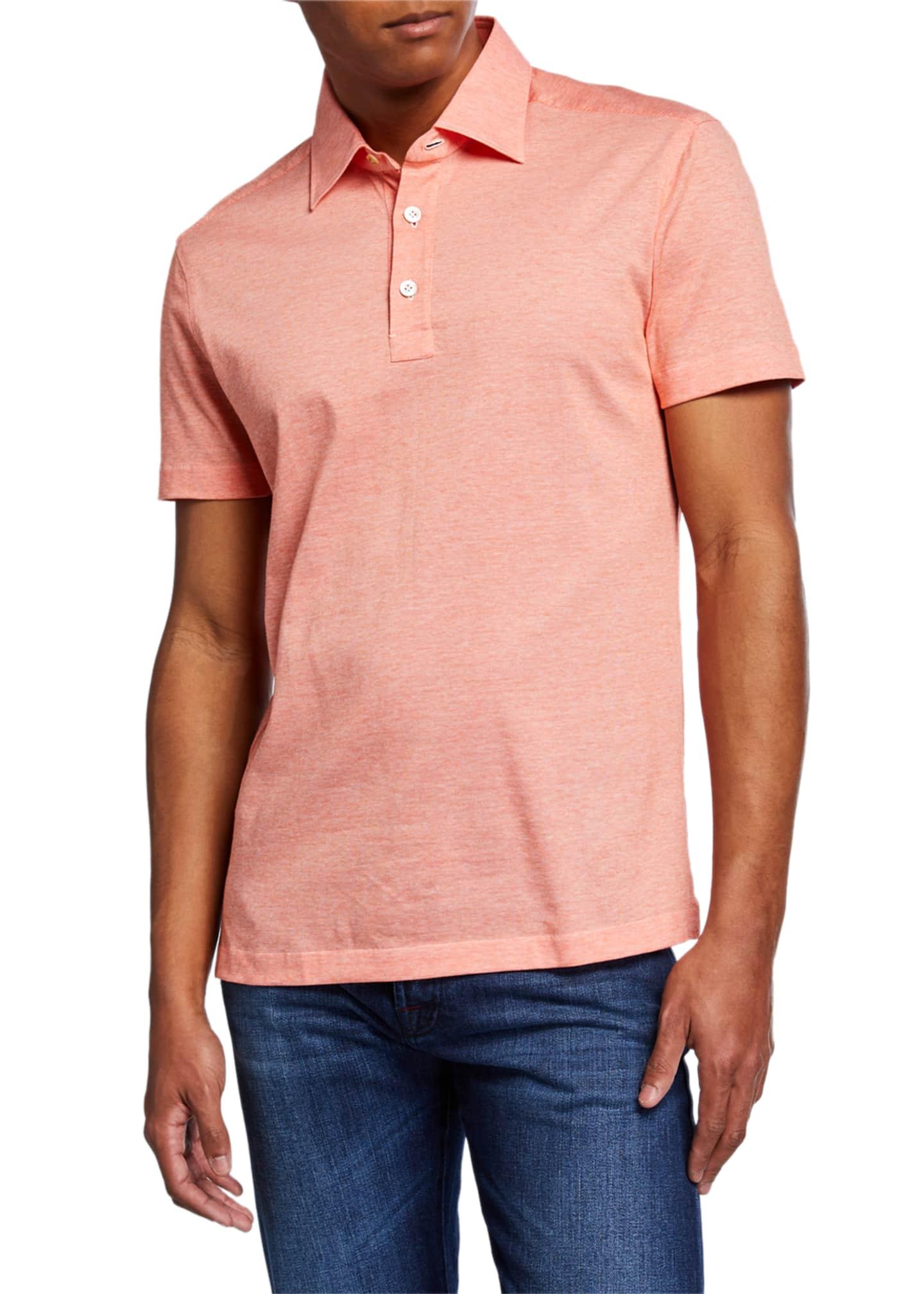 Kiton Men's Cotton Knit Polo Shirt, Orange