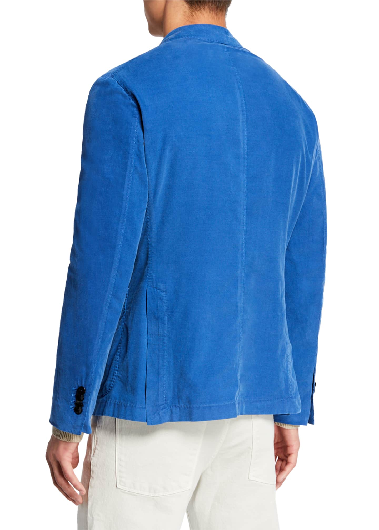 Image 2 of 3: Men's Corduroy Two-Button Jacket, Blue