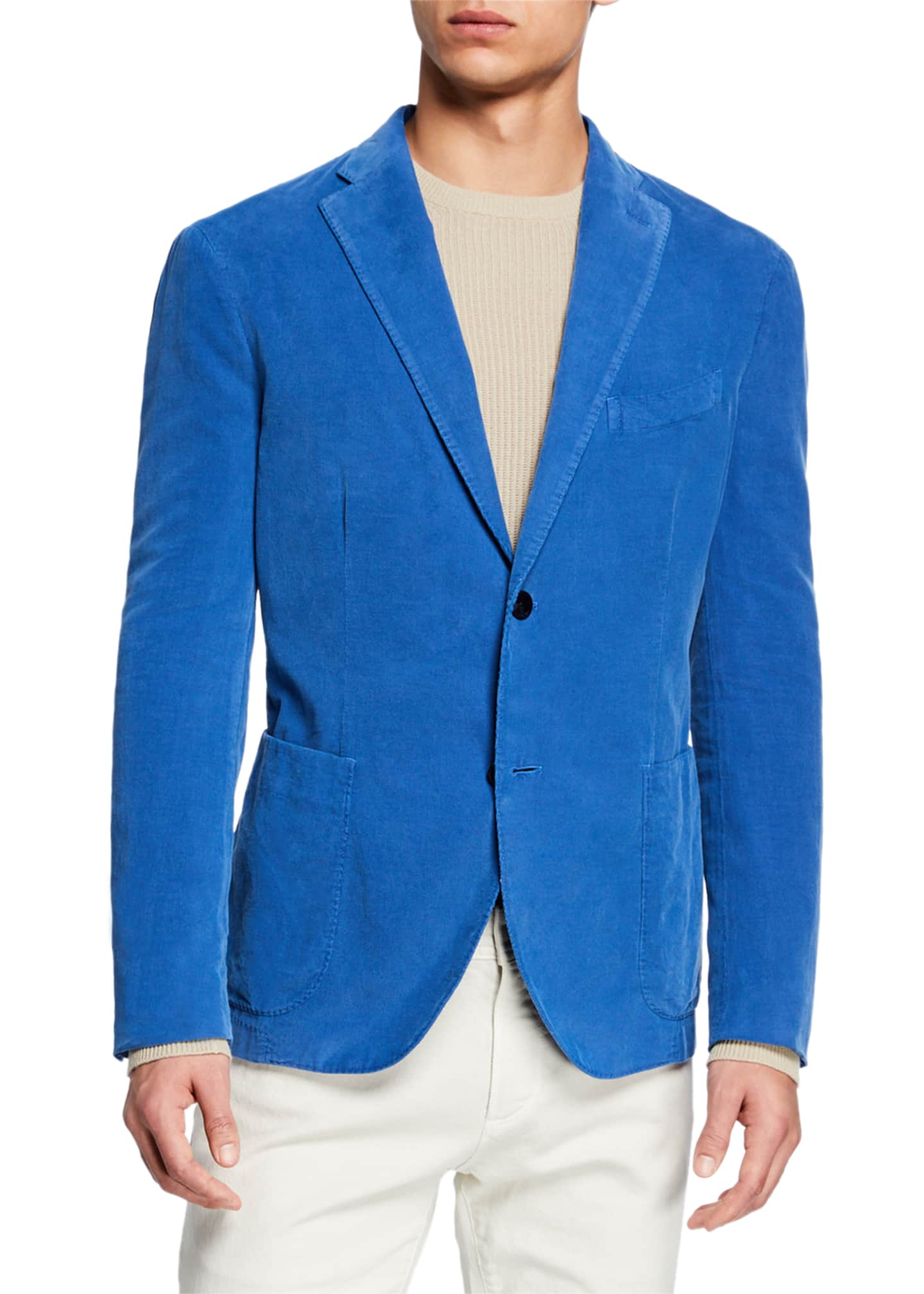 Image 1 of 3: Men's Corduroy Two-Button Jacket, Blue