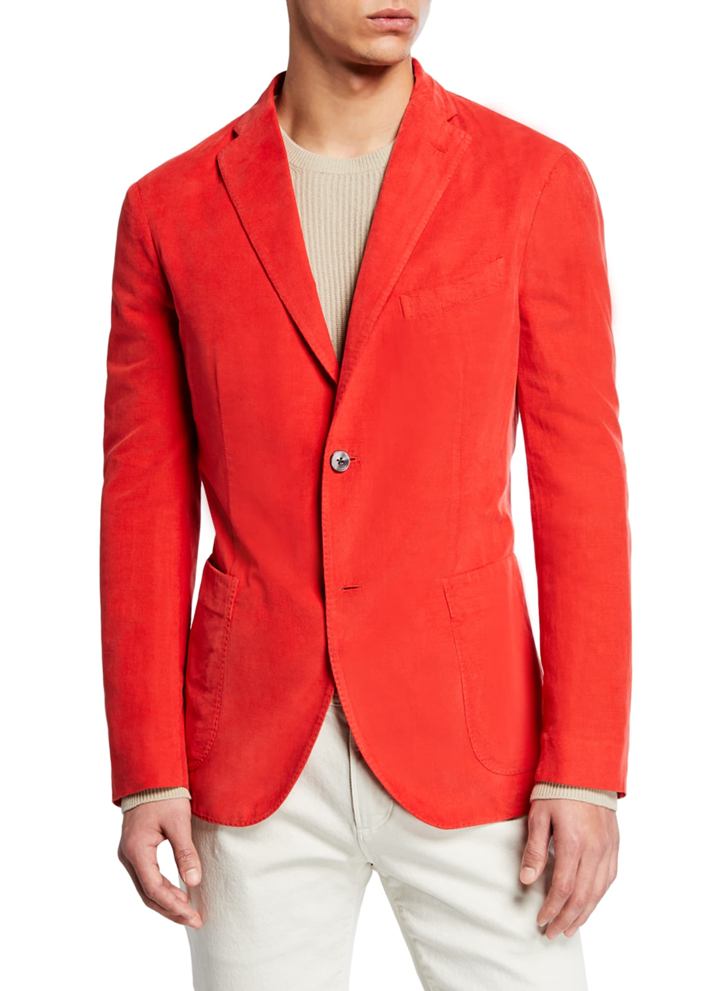 Boglioli Men's Corduroy Two-Button Jacket, Red
