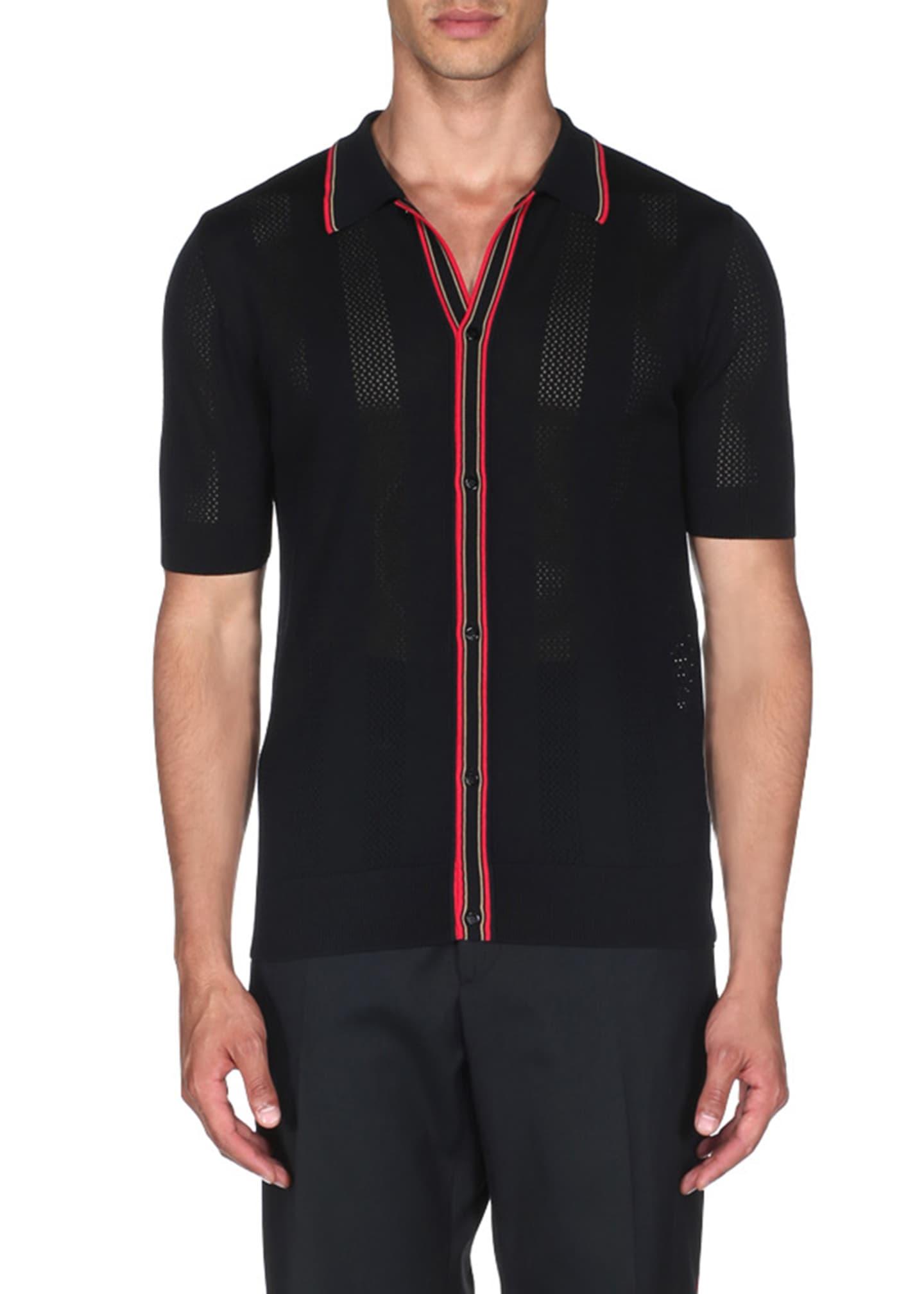 Fendi Men's Contrast Stripe Knit Polo Shirt