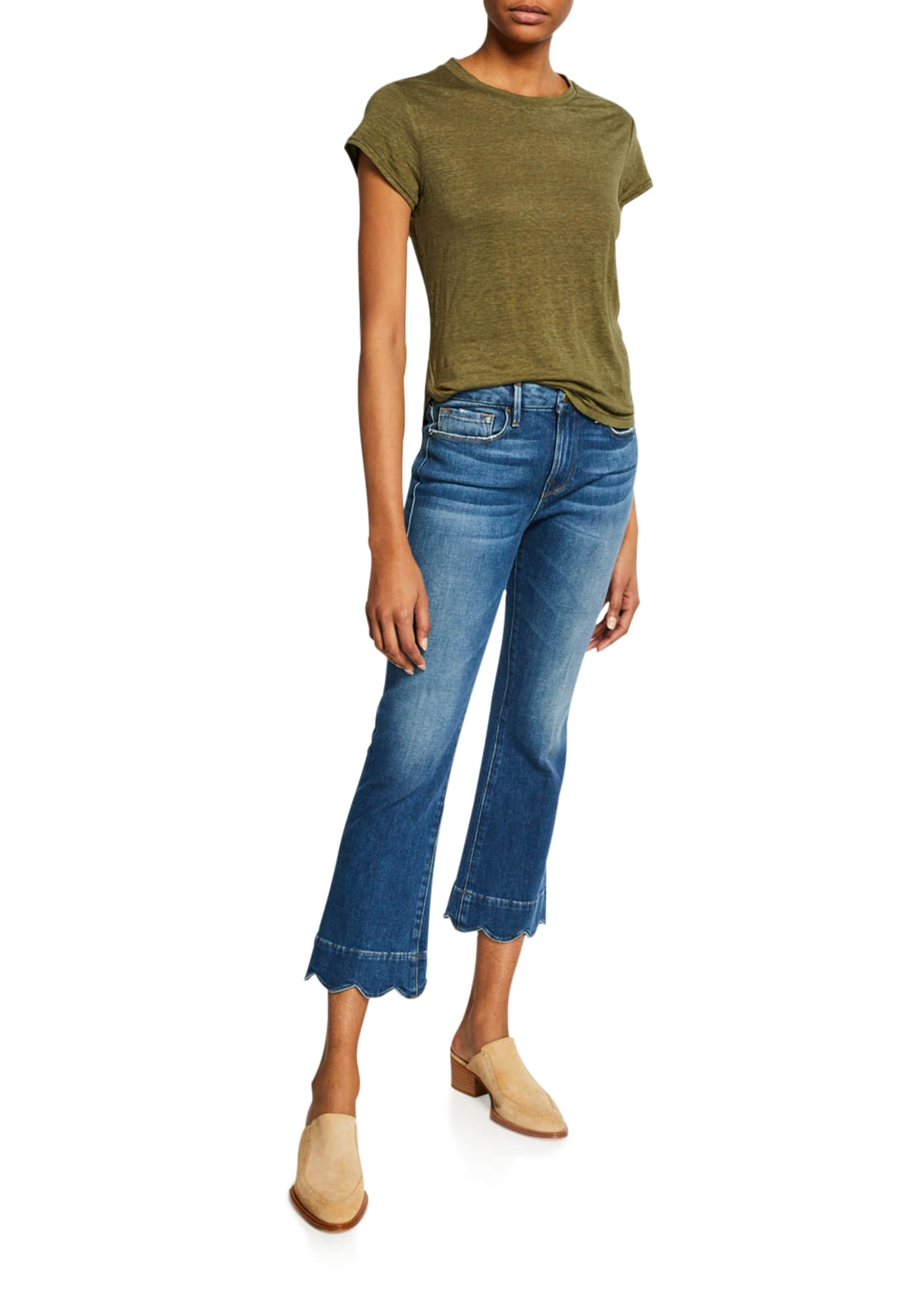 Image 3 of 3: Le Crop Mini Boot-Cut Jeans with Scalloped Hem