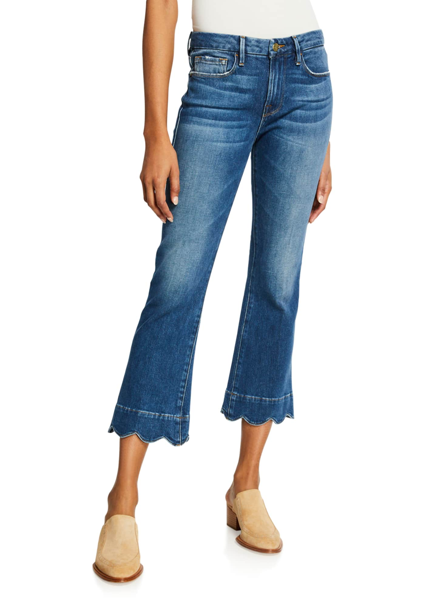 Image 1 of 3: Le Crop Mini Boot-Cut Jeans with Scalloped Hem