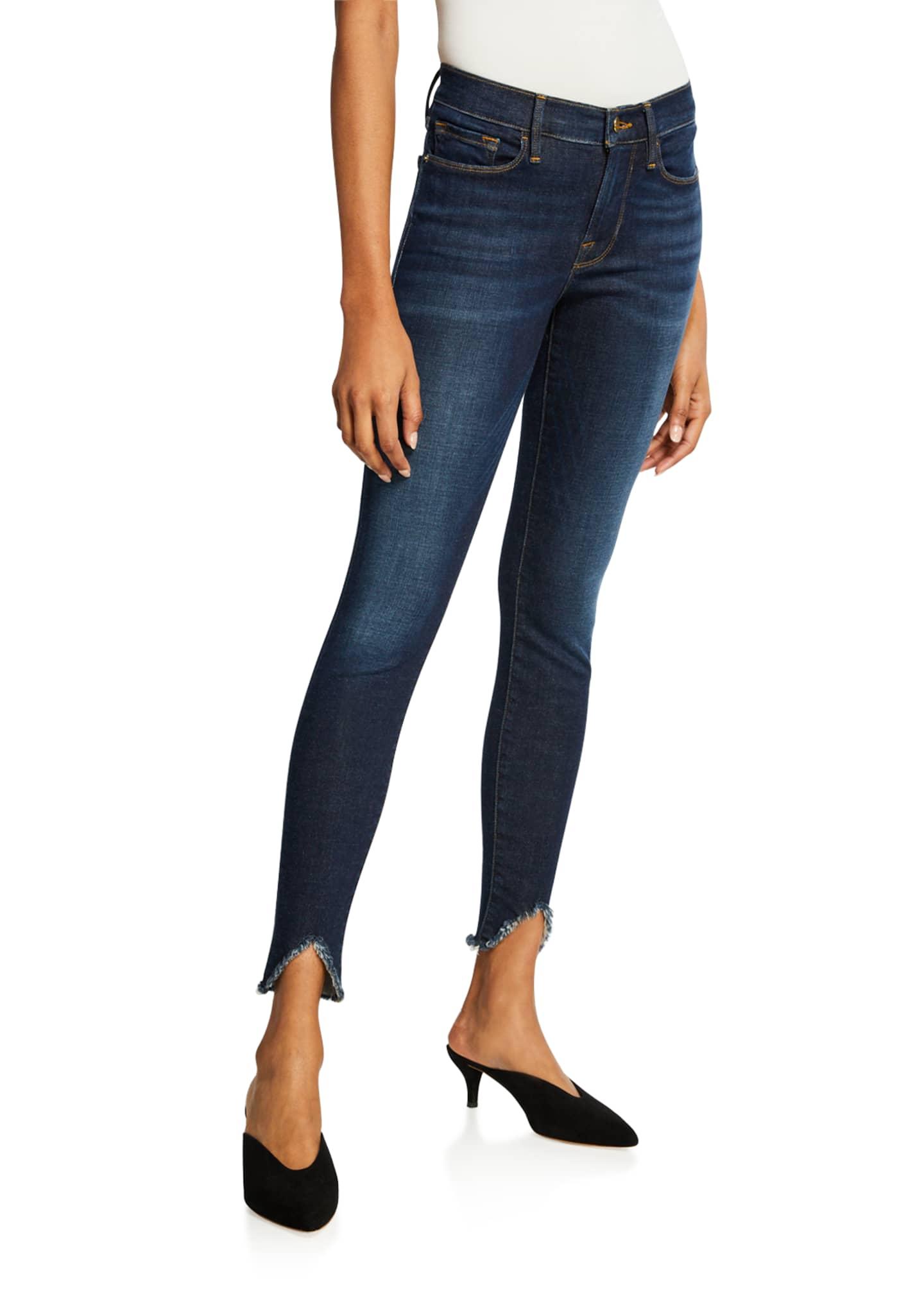 FRAME Le Skinny De Jeanne Raw-Hem Mid-Rise Jeans
