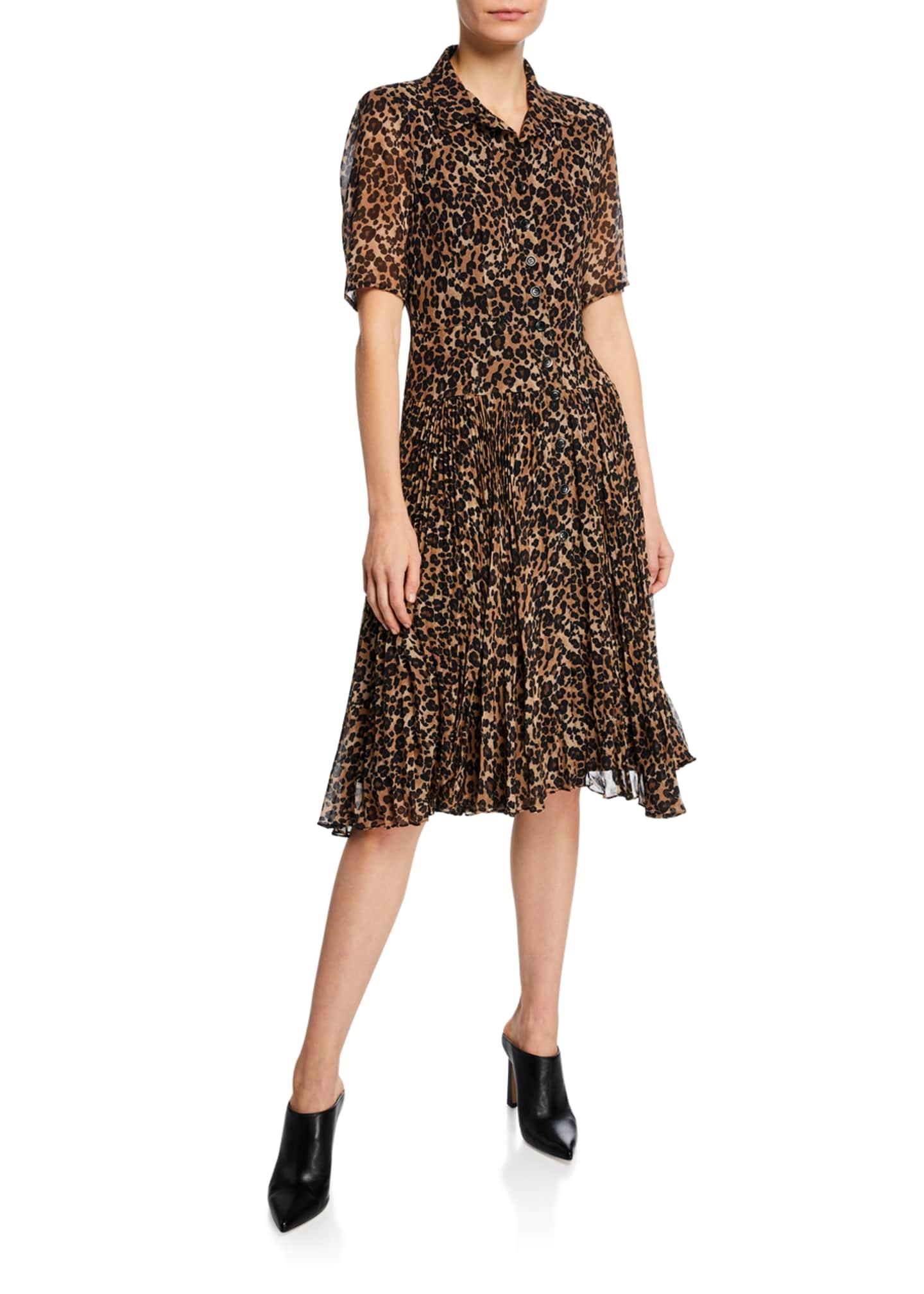 Nanette Lepore Wildlife Button-Front Short-Sleeve Leopard-Print