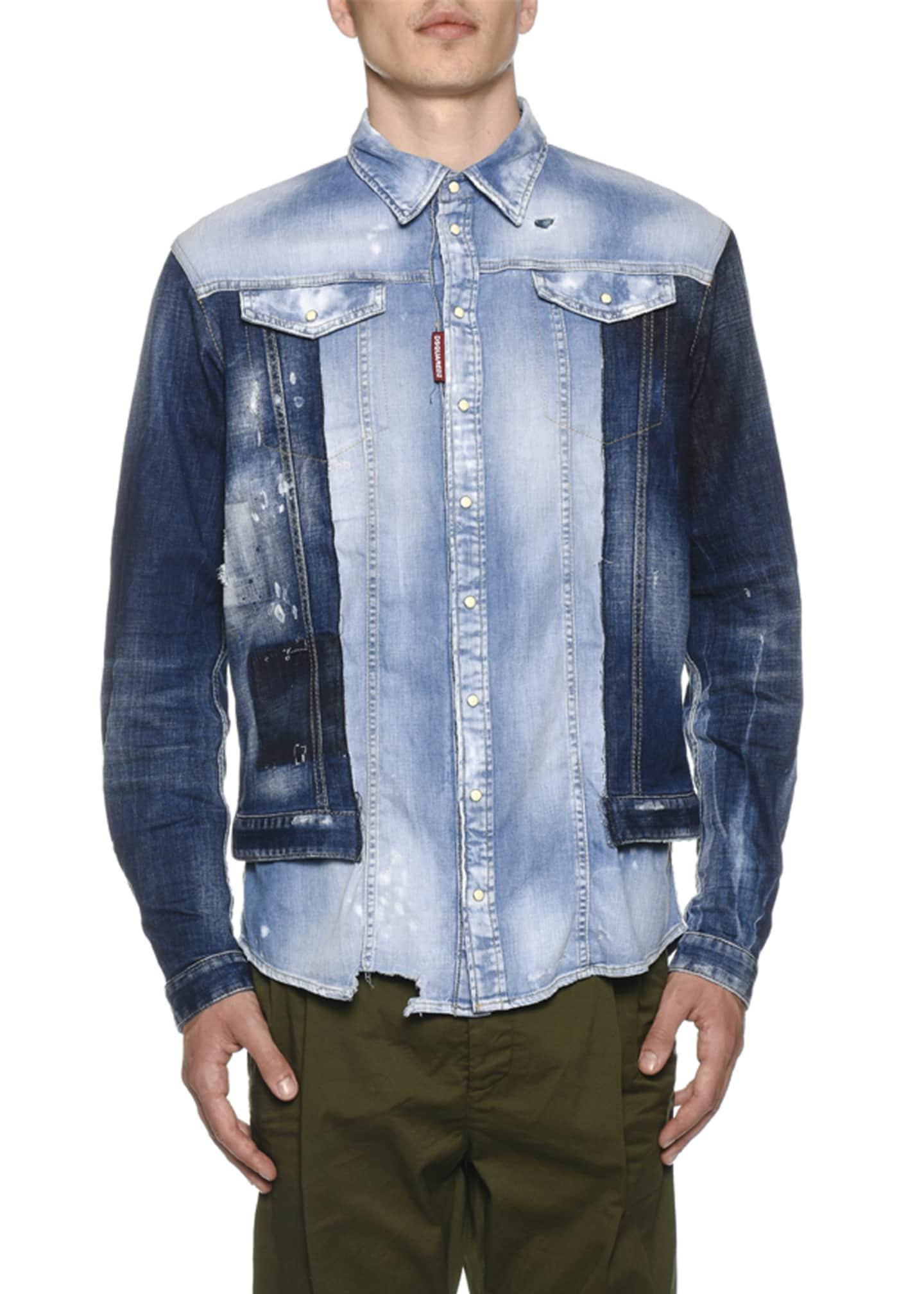 Dsquared2 Men's Mixed-Wash Denim Shirt w/ Jean Jacket