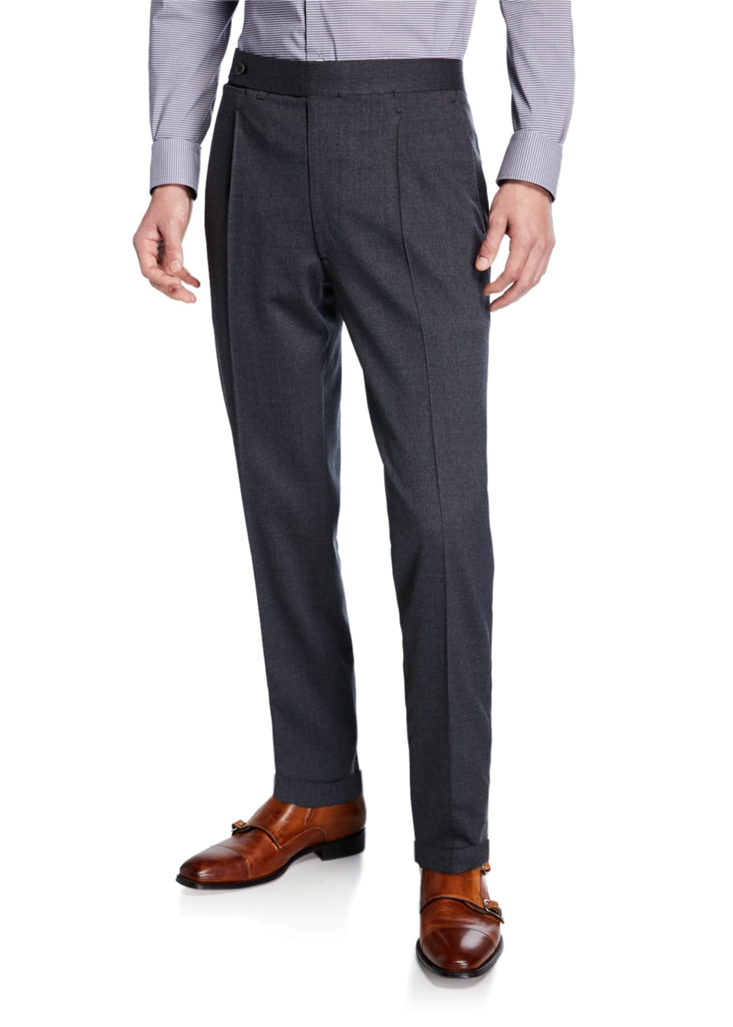 Ambrosi Napoli Men's Single-Pleat Stretch-Wool Pants