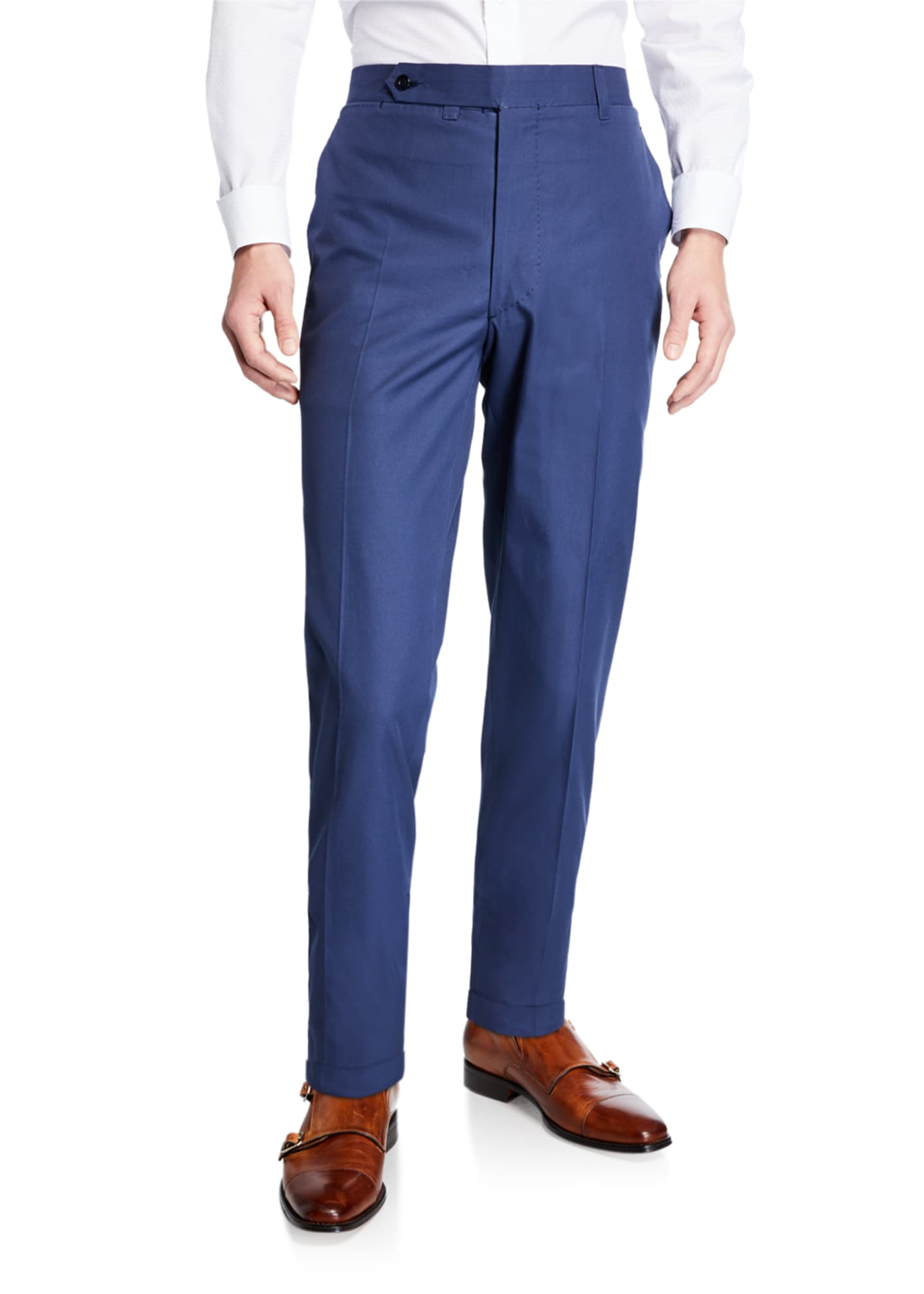 Ambrosi Napoli Men's Flat-Front Twill Trousers