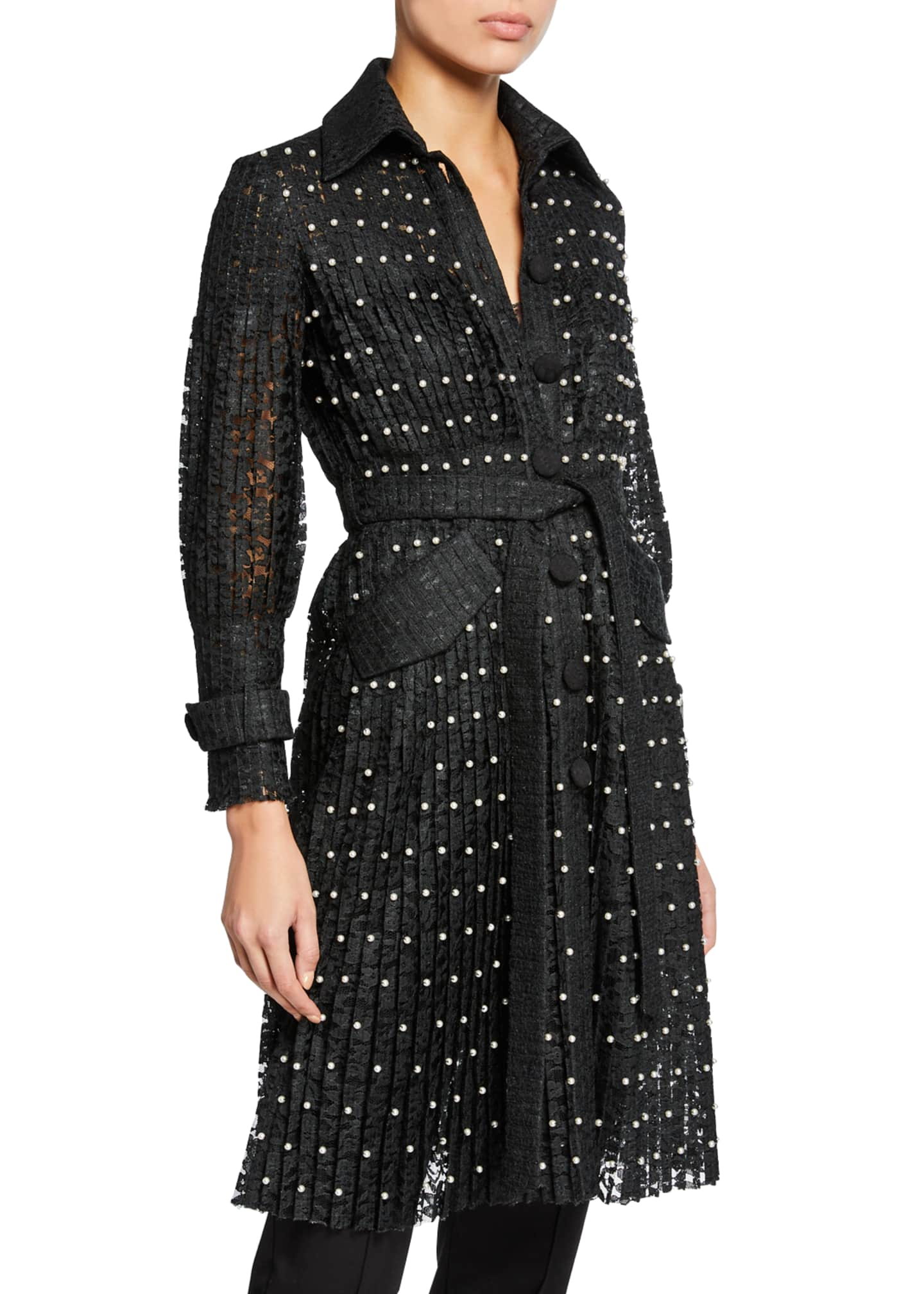 Huishan Zhang Pearly-Trim Lace Trench Coat