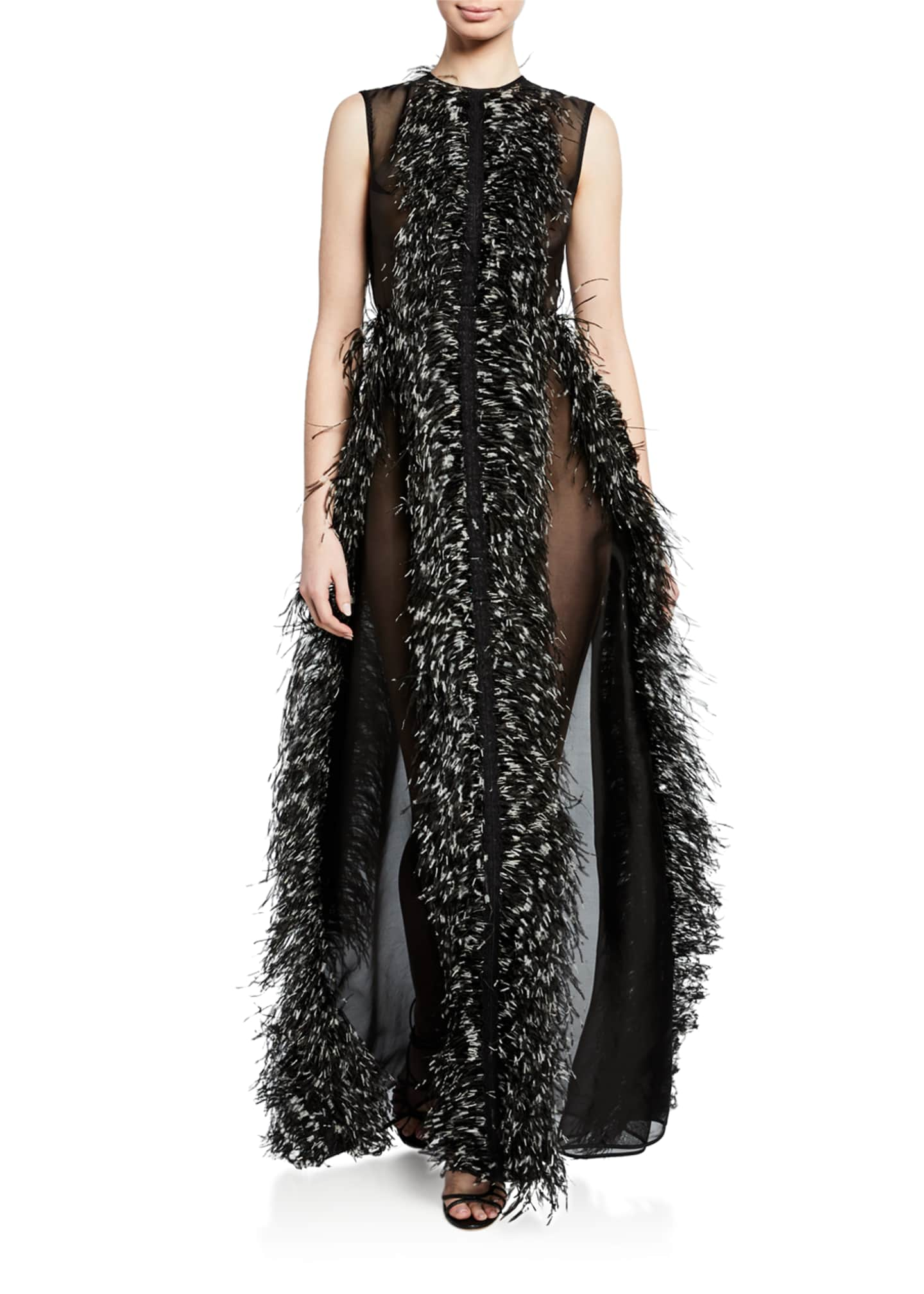 Huishan Zhang Sleeveless Tie-Dye Feathered Tulle Gown