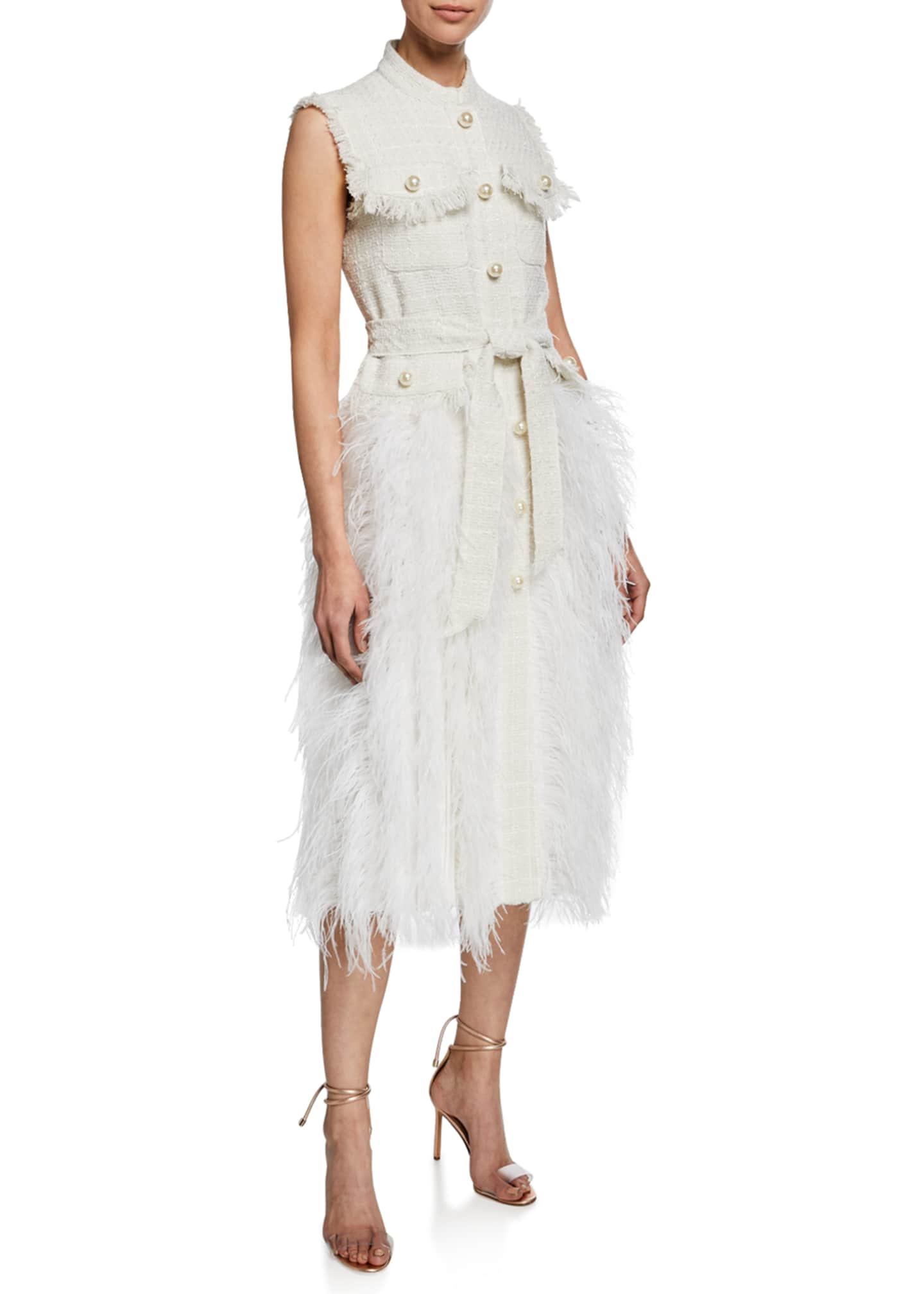Huishan Zhang Feather Trim Sleeveless Tweed Dress