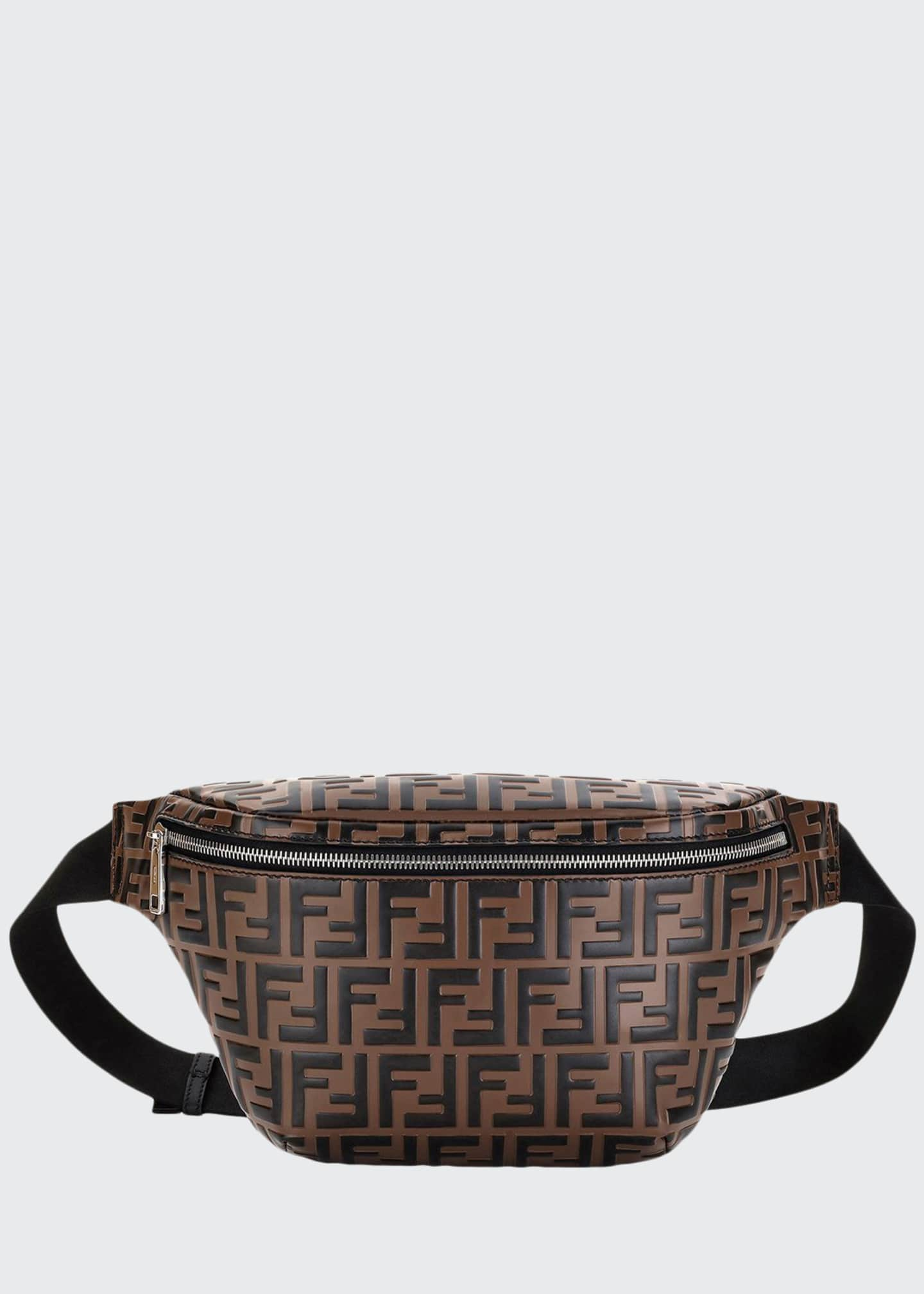 Fendi Men's Embossed Leather Belt Bag/Fanny Pack