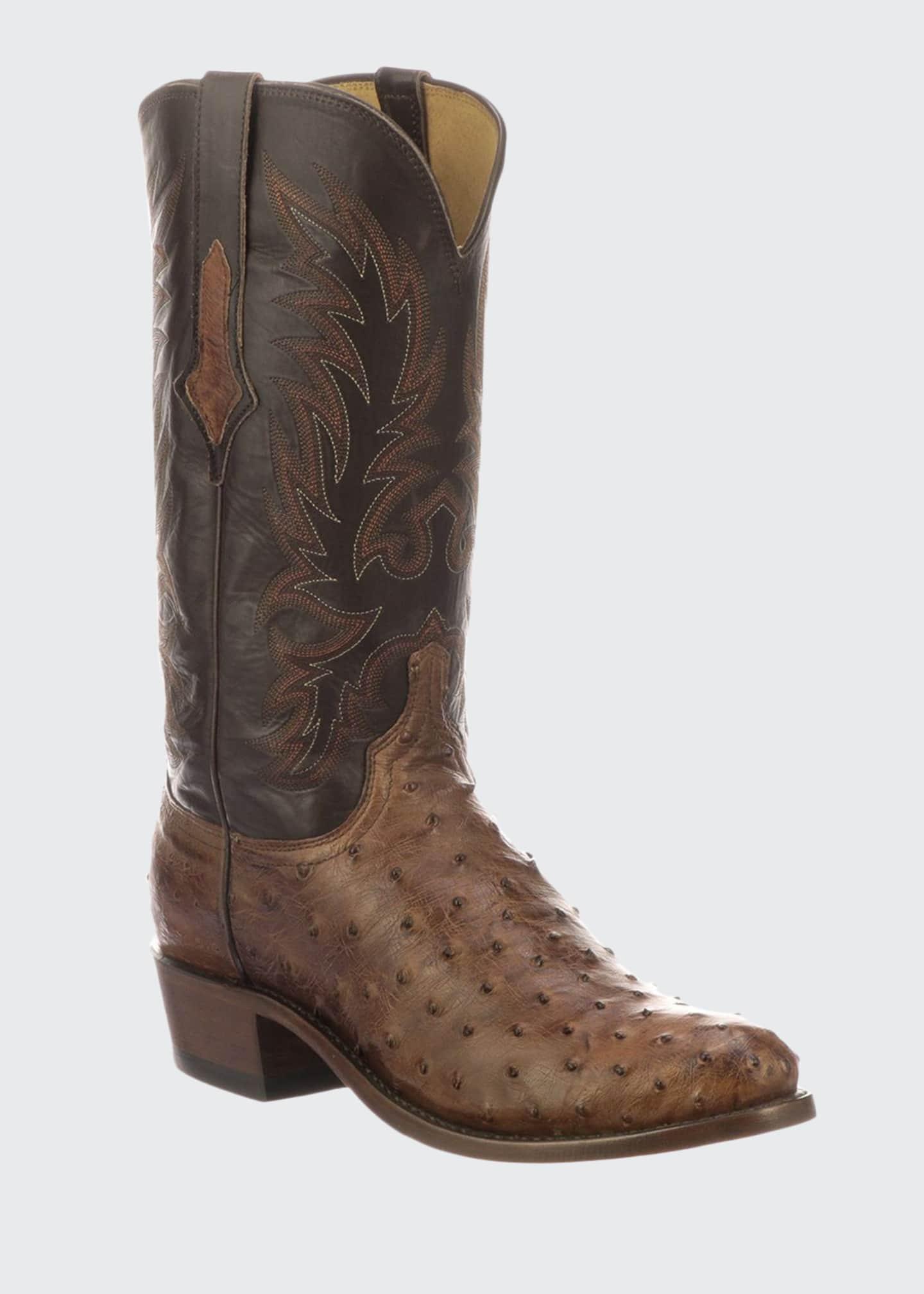 Lucchese Men's Elgin Ostrich Cowboy Boots