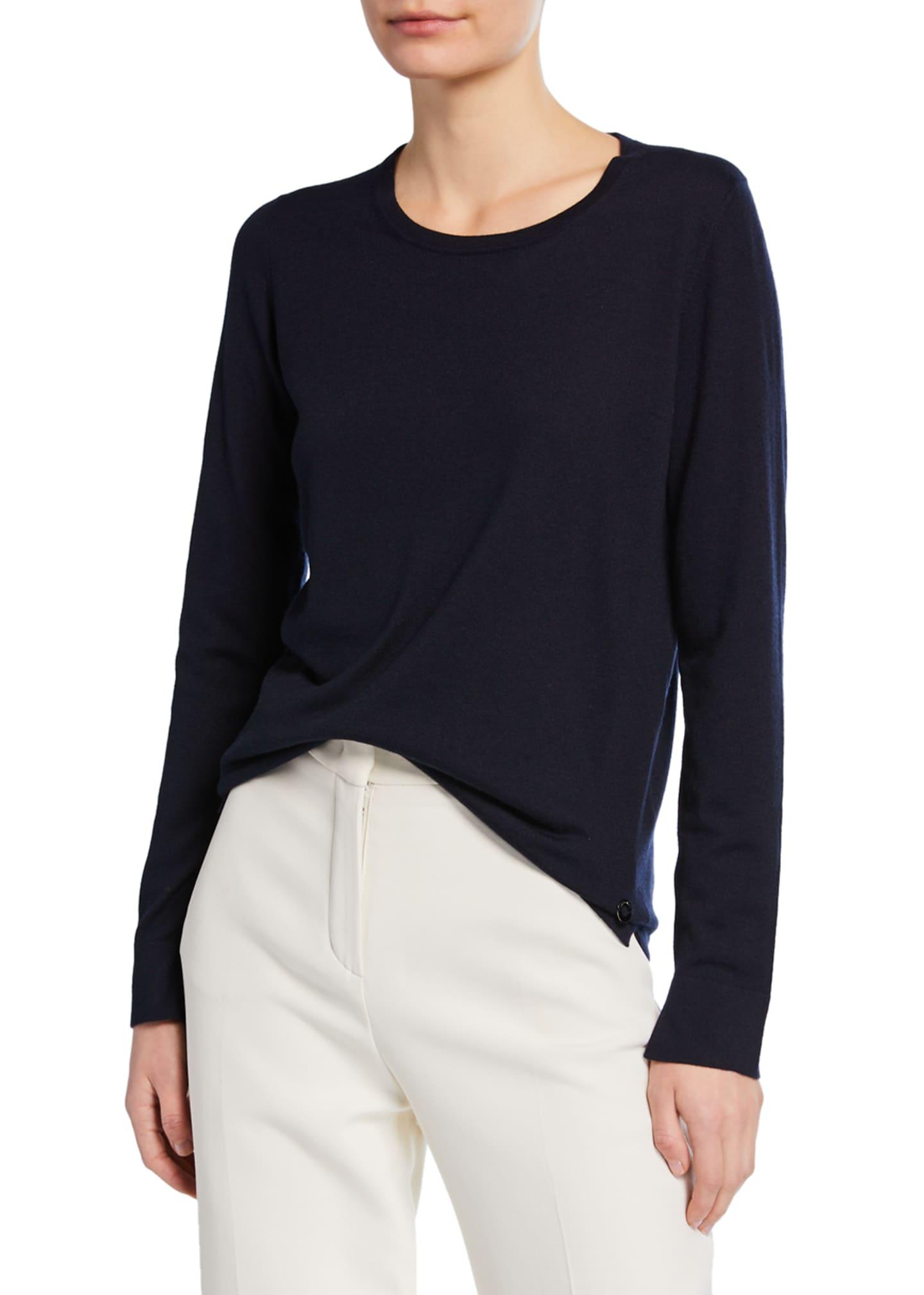 Loro Piana Piuma Crewneck Long-Sleeve Cashmere T-Shirt