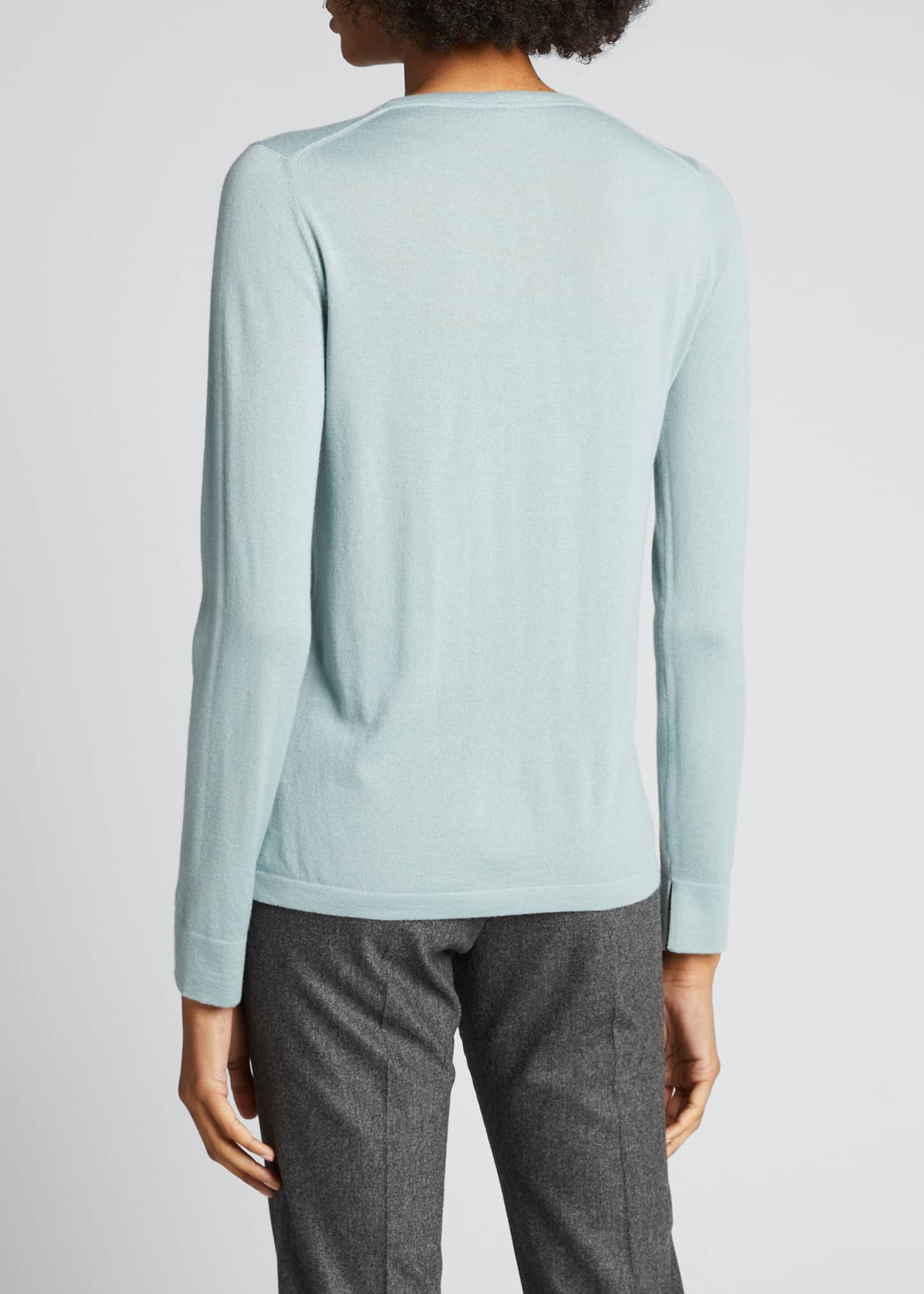 Image 2 of 3: Piuma Crewneck Long-Sleeve Cashmere T-Shirt